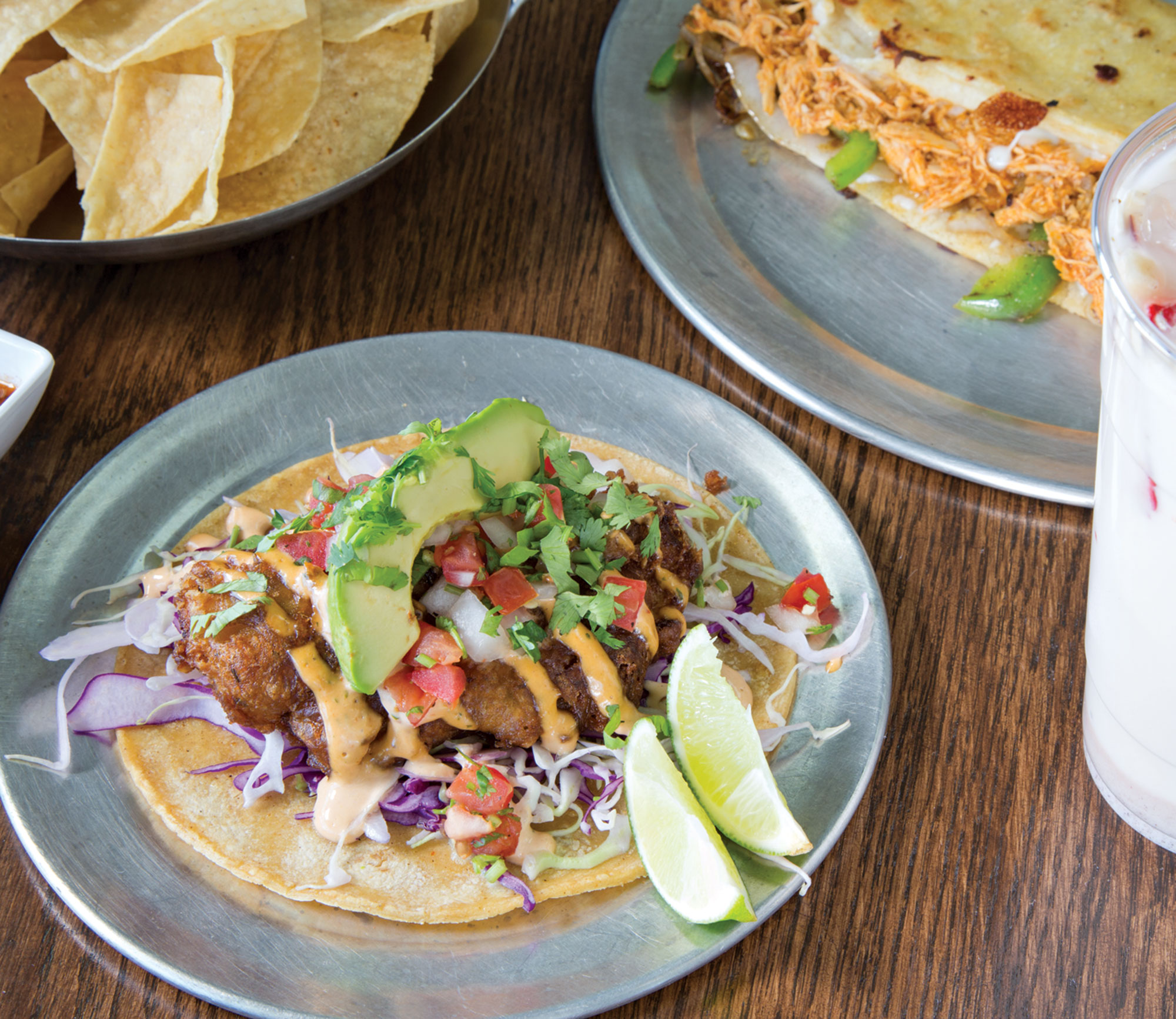 deep-fried fish taco with masa quesadilla and horchata, Just Tacos and More; Photography by Angelina Aragon