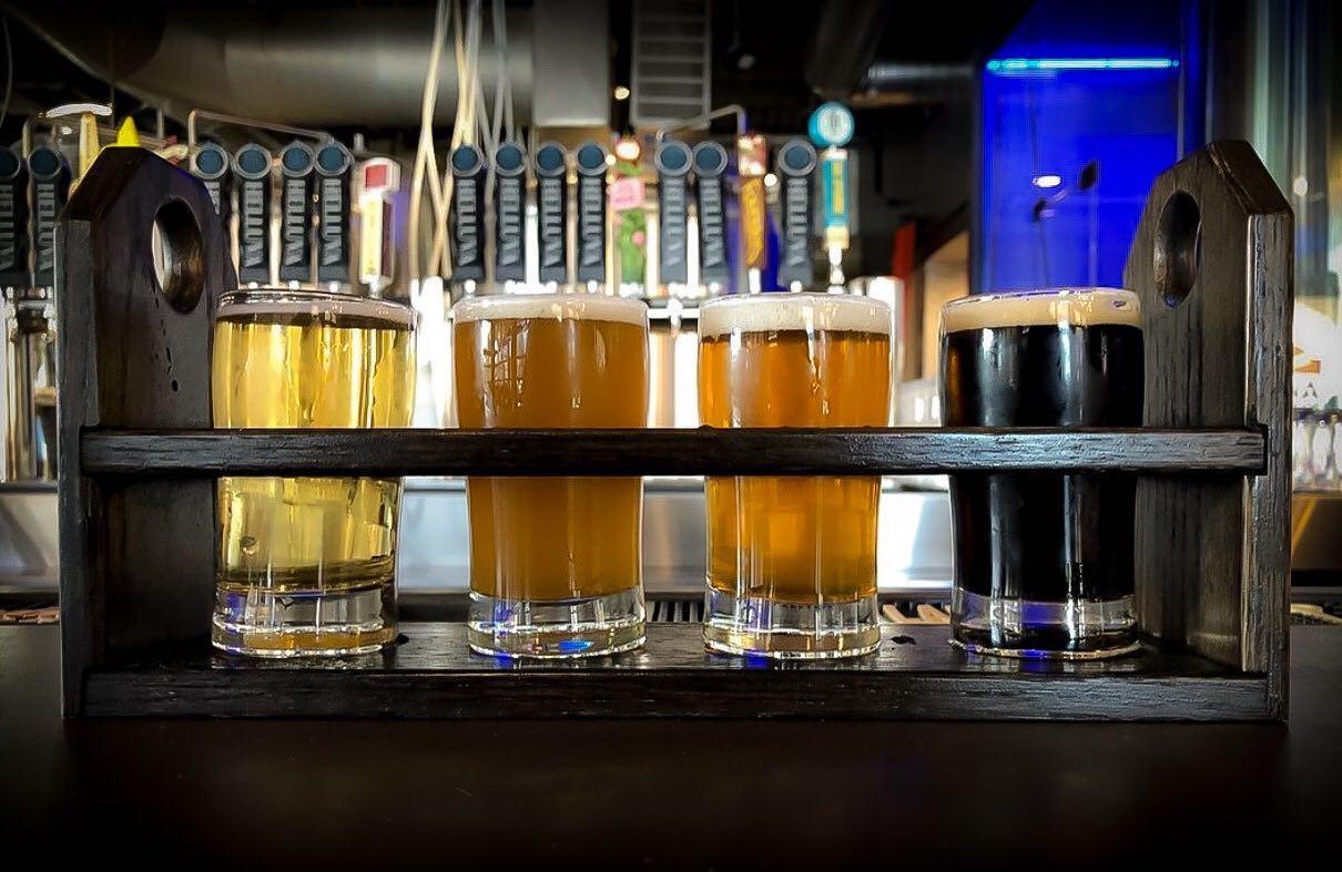 A flight of beer from Helluva Brewing