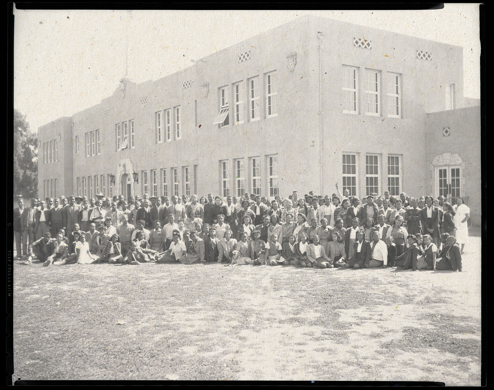 Black students and faculty at Phoenix Union Colored High School in 1942. The school was renamed George Washington Carver High School the following year.; photo courtesy McCulloch Bros. Collection at ASU