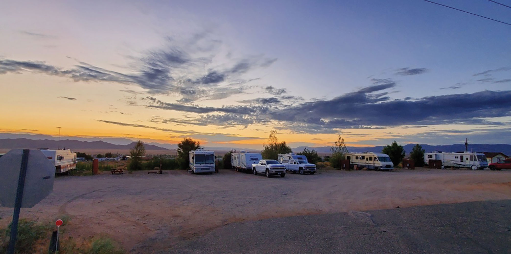 RVs at Mike's Route 66 Outpost and Saloon; Photo courtesy Harvest Hosts