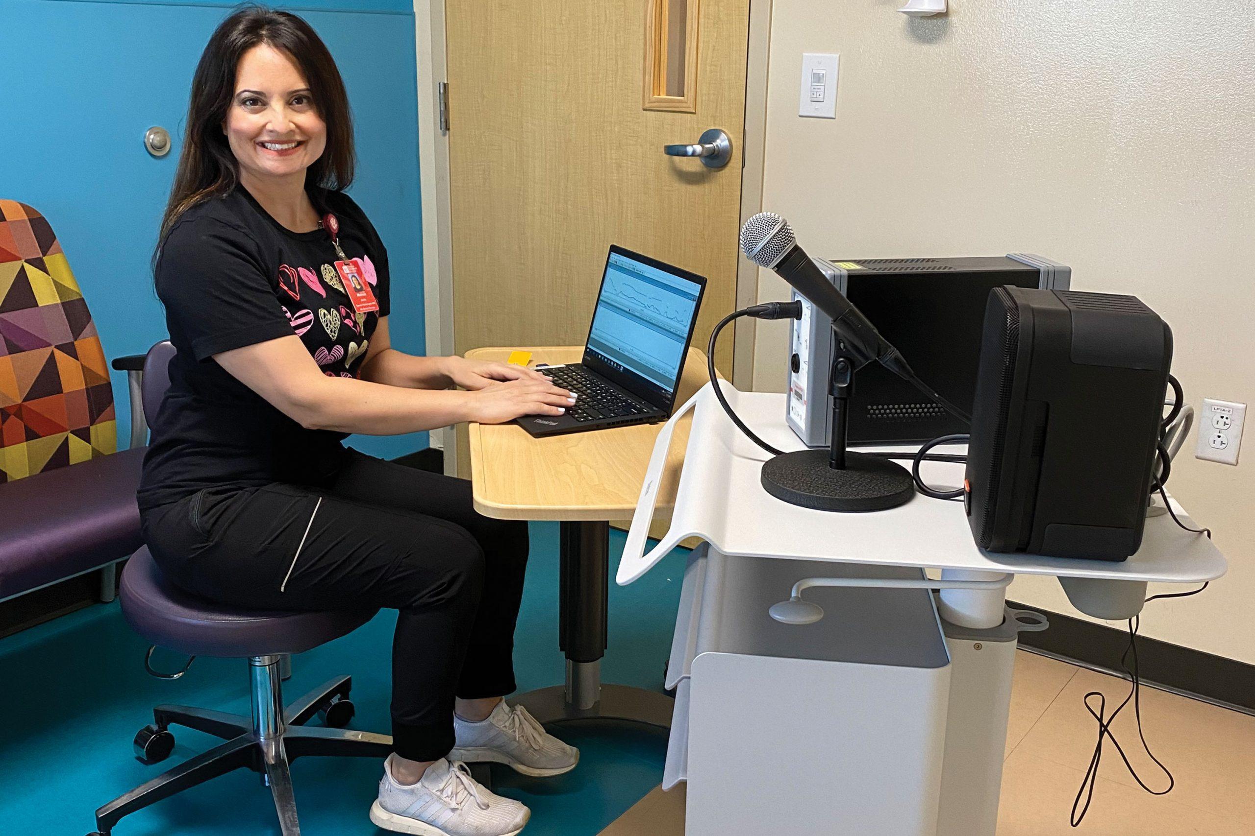 Dr. Mahsa Salek provides voice therapy at Phoenix Children's Hospital's Mercy Gilbert campus; Photo courtesy Mahsa Moeeni-Salek