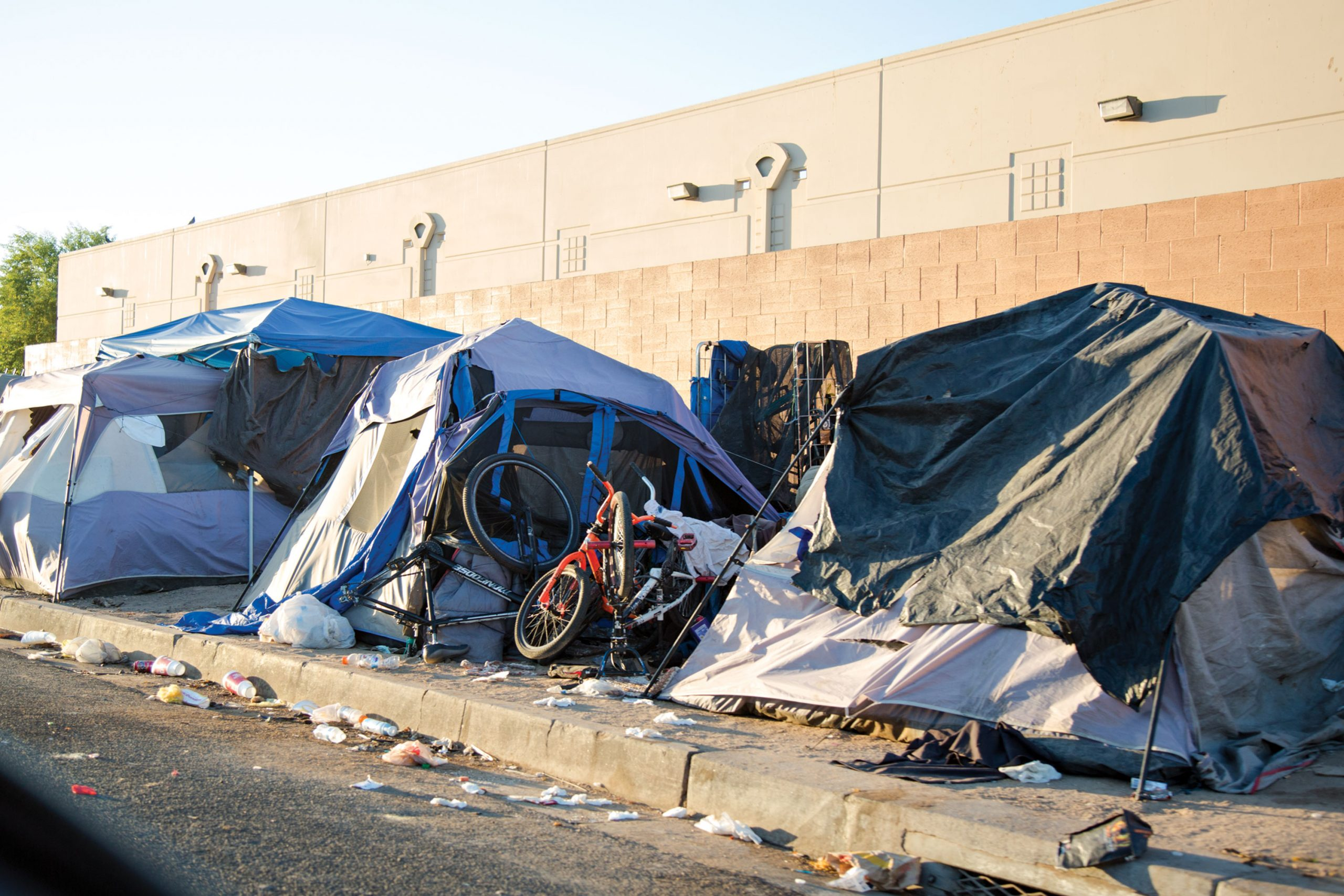 An encampment near the Andre House in Downtown Phoenix; Photo by Angelina Aragon