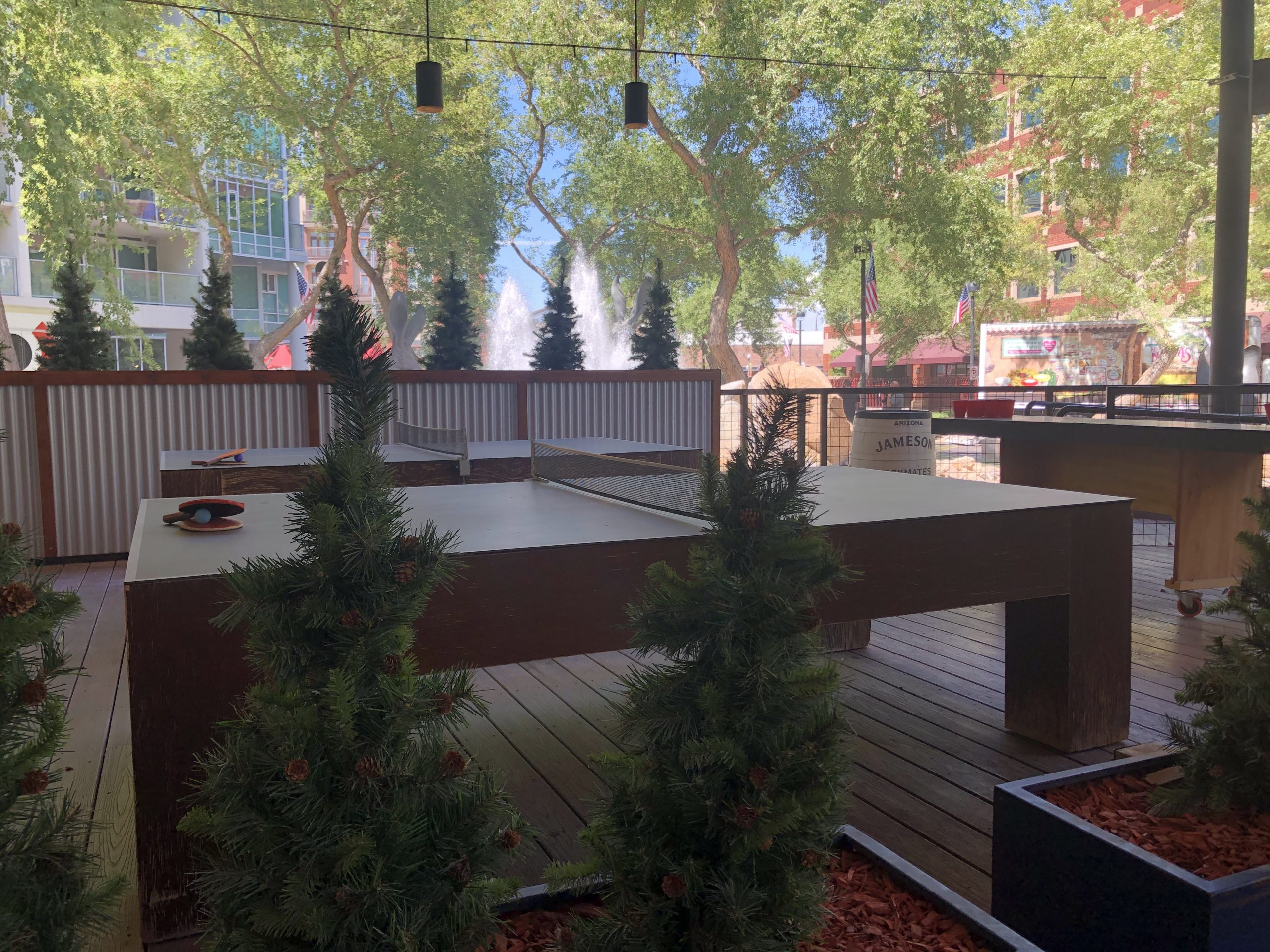 The patio in mid-August sits empty, but this is the place to be when temps come down in October.
