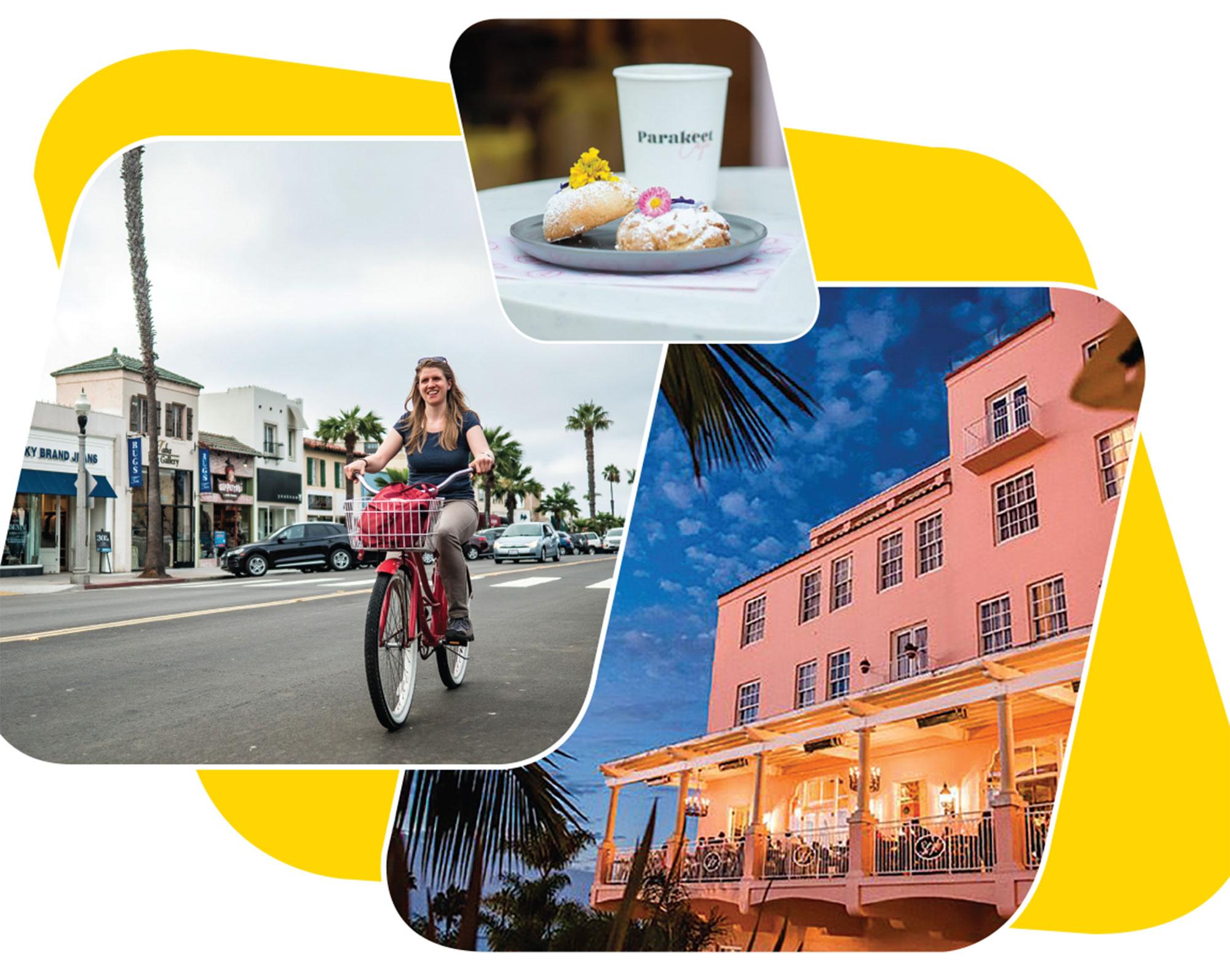 Left to right: Biking in La Jolla; offerings at Parakeet Café; La Valencia Hotel at dusk