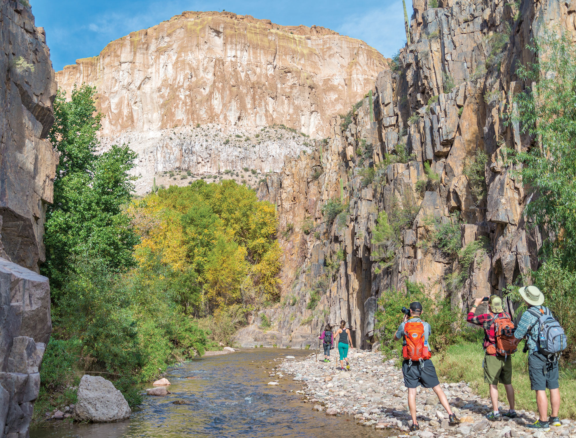 Hiking in Aravaipa Canyon Wilderness; Photo by Jack H. Taylor