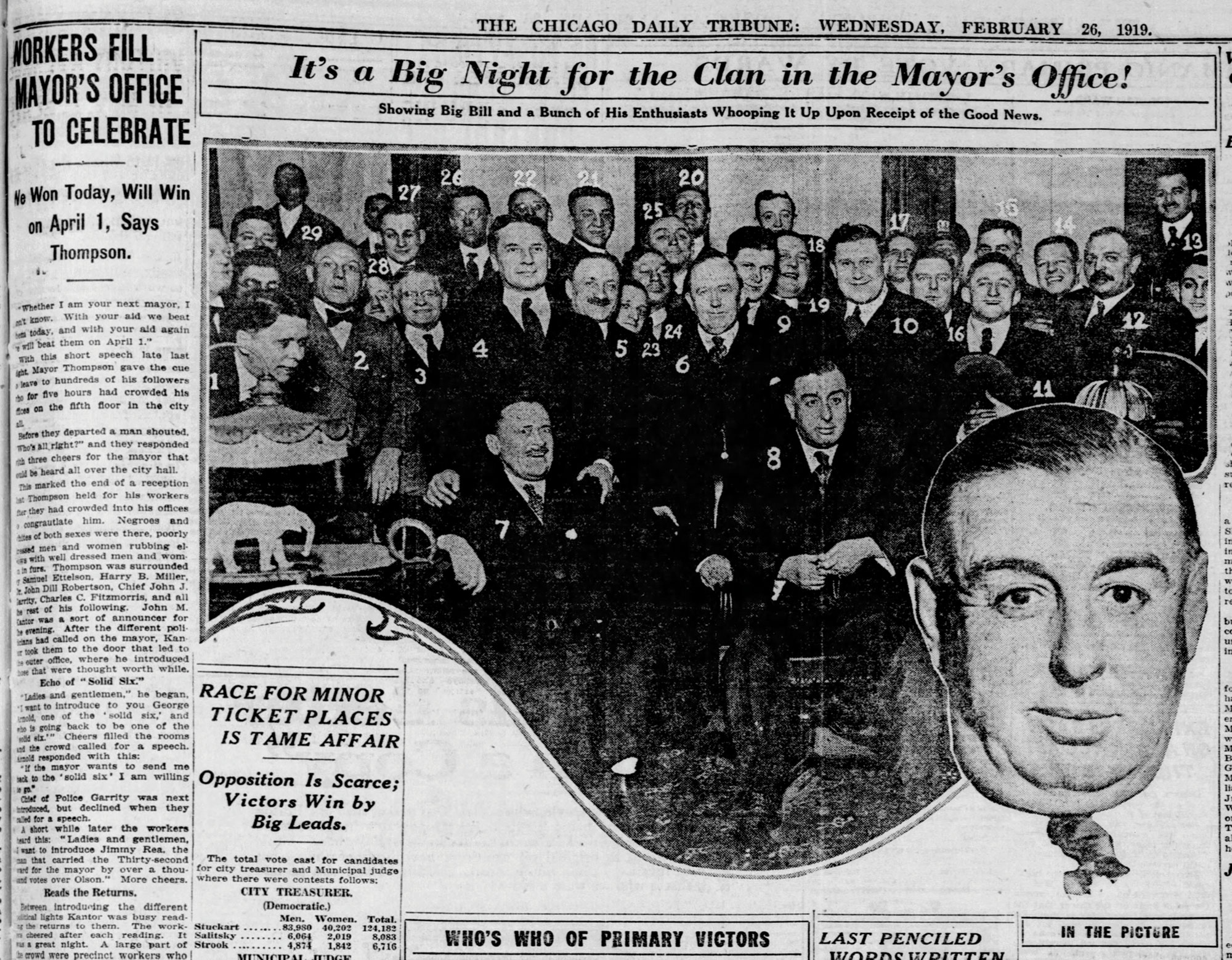 Bidwill (No. 9 in photo) was involved in the reelection campaign of Chicago mayor William Thompson in 1919; Photo courtesy Chicago Tribune