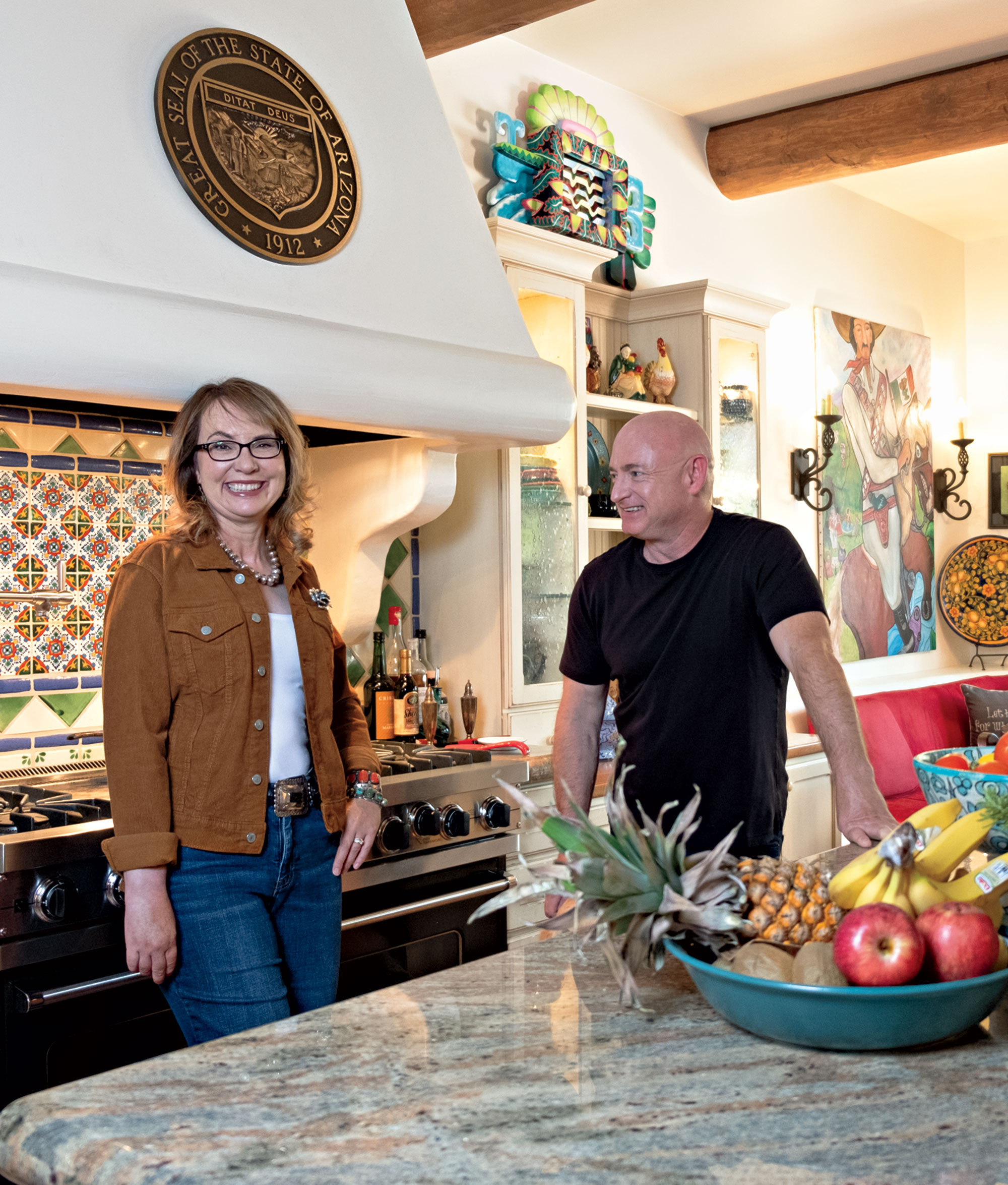 Giffords and Kelly at their Tucson home; Photo by Mirelle Inglefield; Photo assistant: Eric Cox