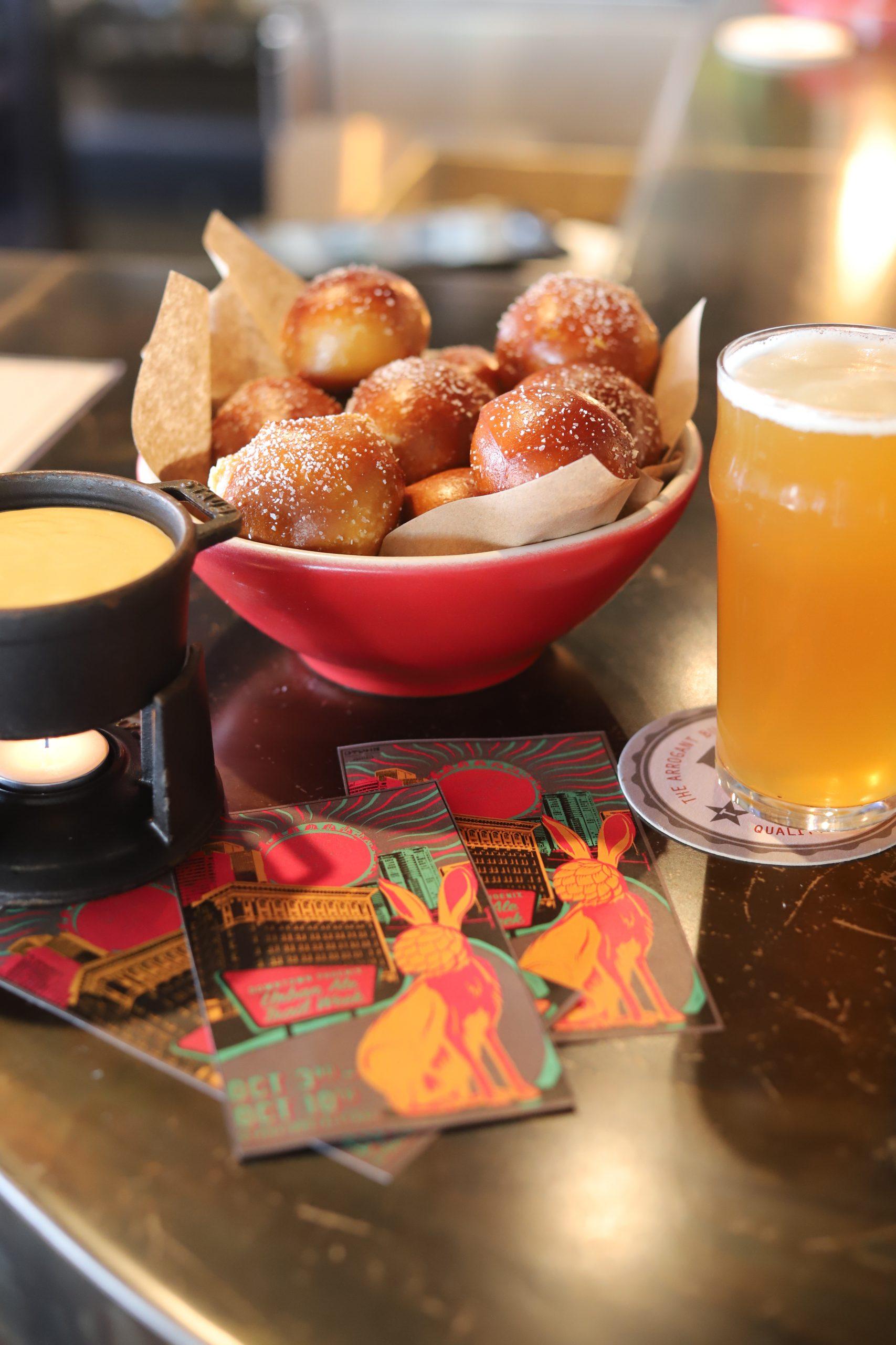 Arrogant Butcher pretzel bites and beer. Photo from Downtown Phoenix.