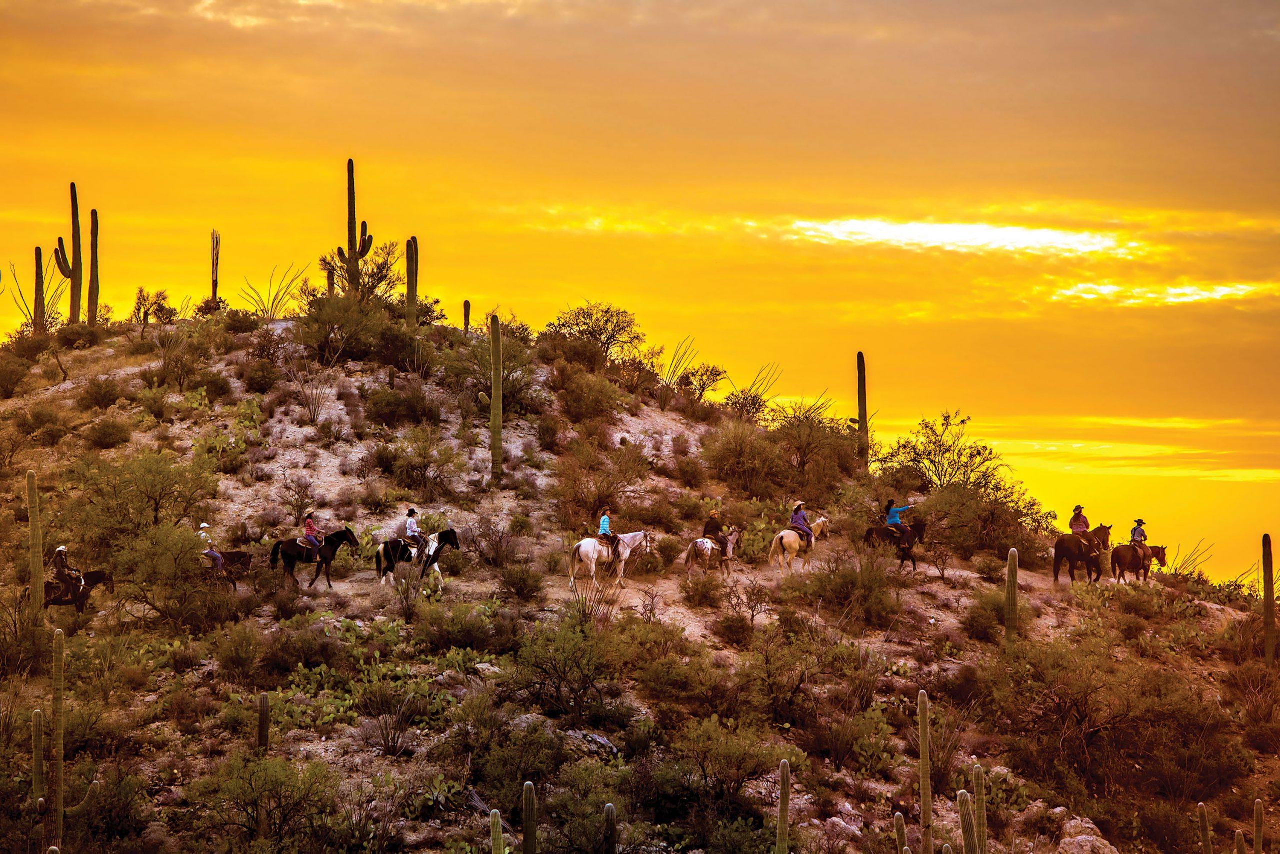 Horseback riding through the desert at Tanque Verde Ranch; Photo courtesy Tanque Verde Ranch