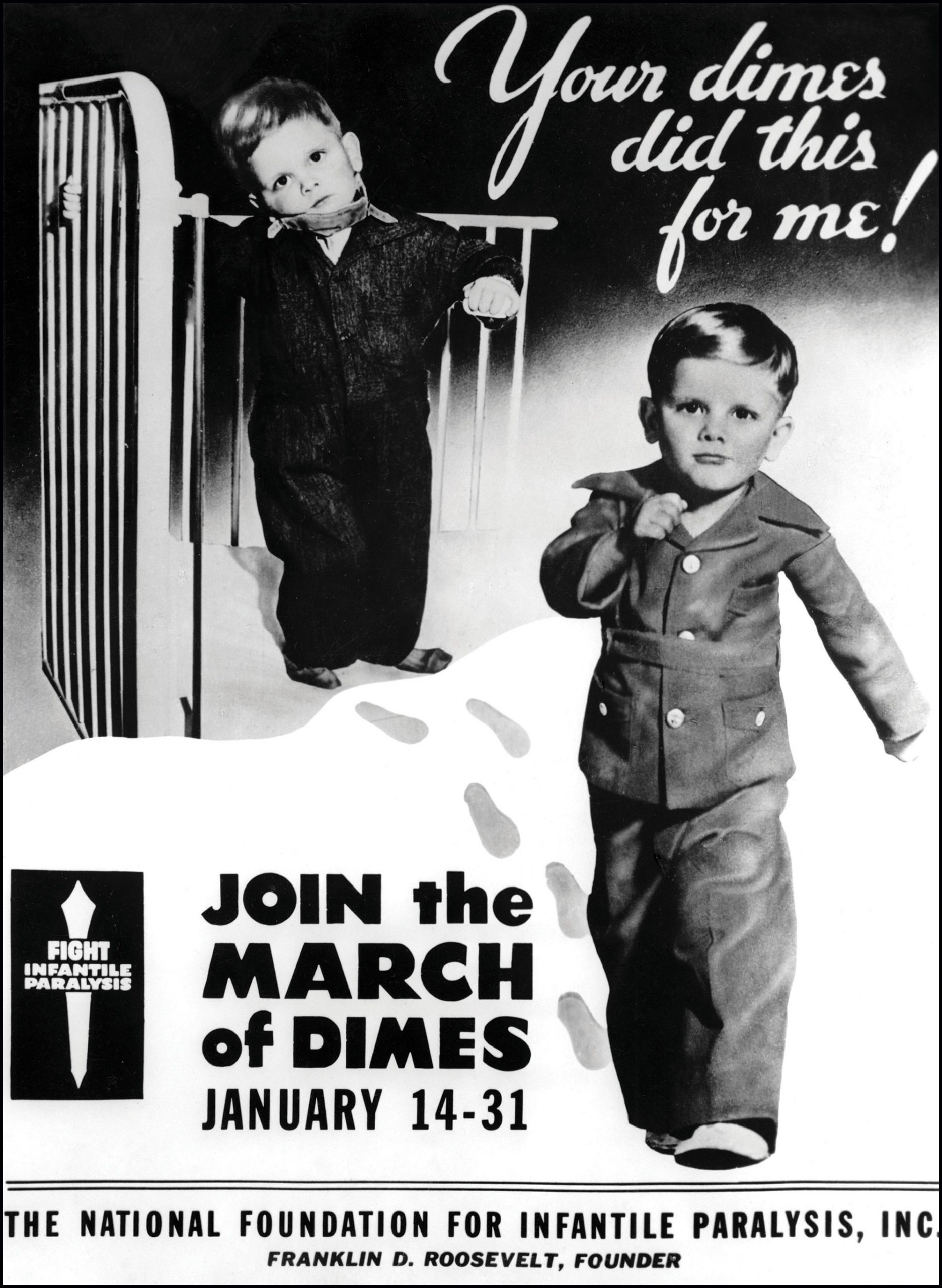 campaign art to get young polio victims walking again; Photo courtesy March of Dimes Archives