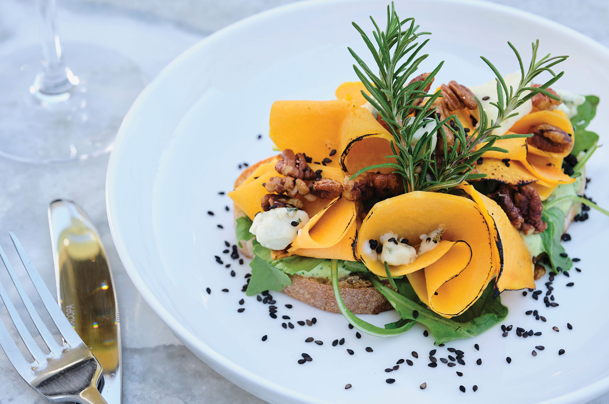 Warm butternut squash tartine; Photography by Kyle Ledeboer