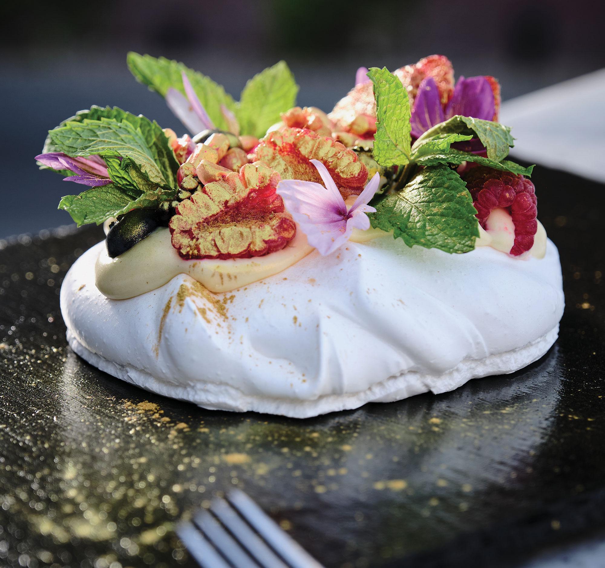 Pavlova dessert; Photography by Kyle Ledeboer