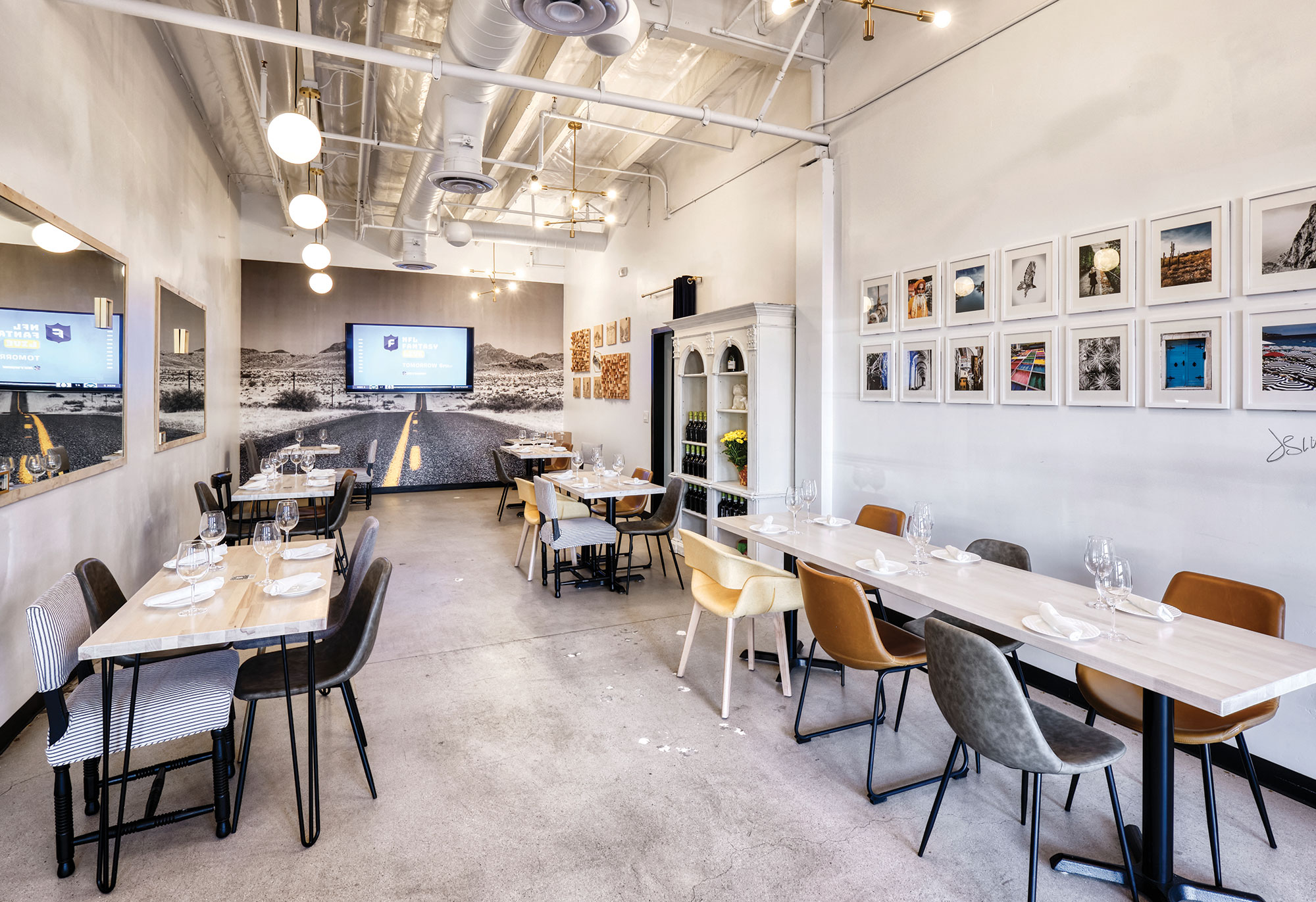 dining room at The Mick Brasserie + Bar; Photography by Kyle Ledeboer