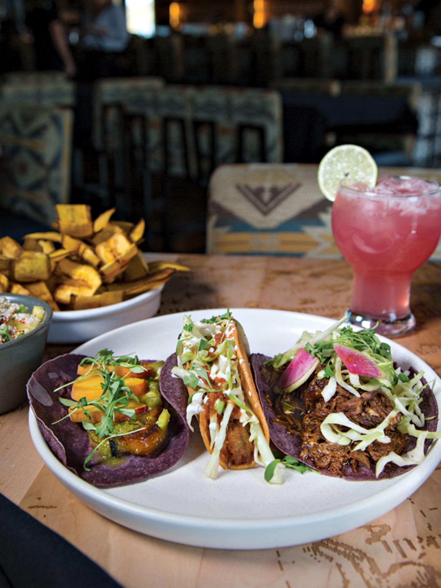 short rib, potato and carnitas tacos at Mochilero Kitchen; Photo by Angelina Aragon