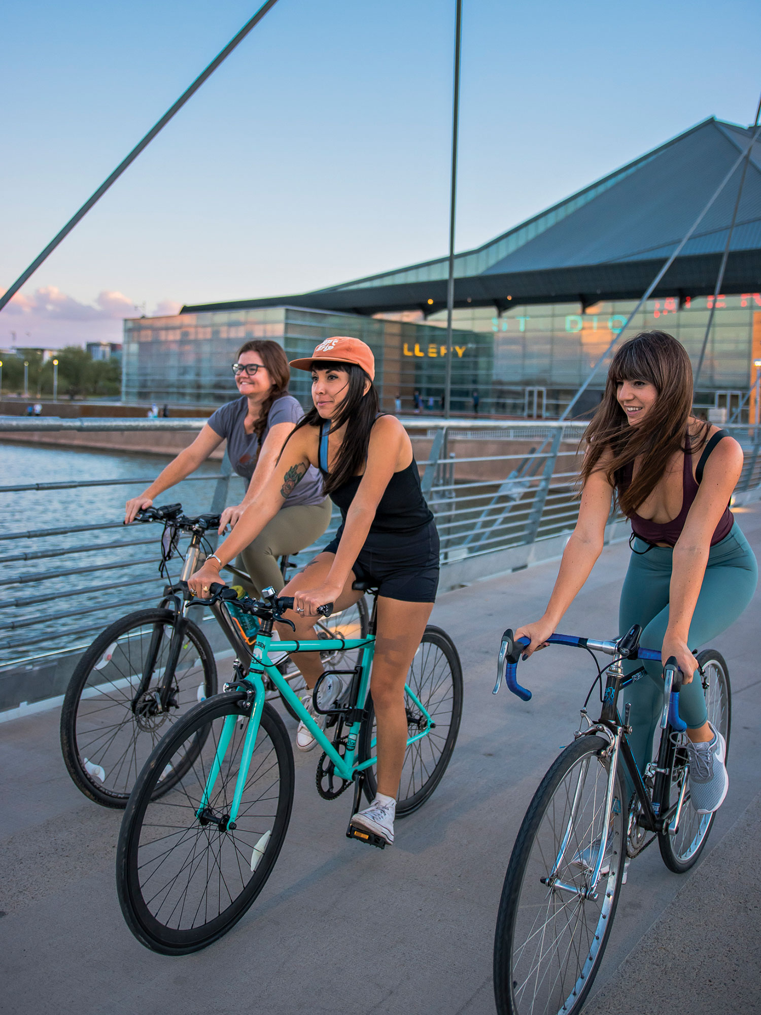 Rio Salado Pathway in Tempe.; Photo by Danny Upshaw; Models: Dakota Jeane DiSanto; Chelsea Hughes; Rosemary Liversedge
