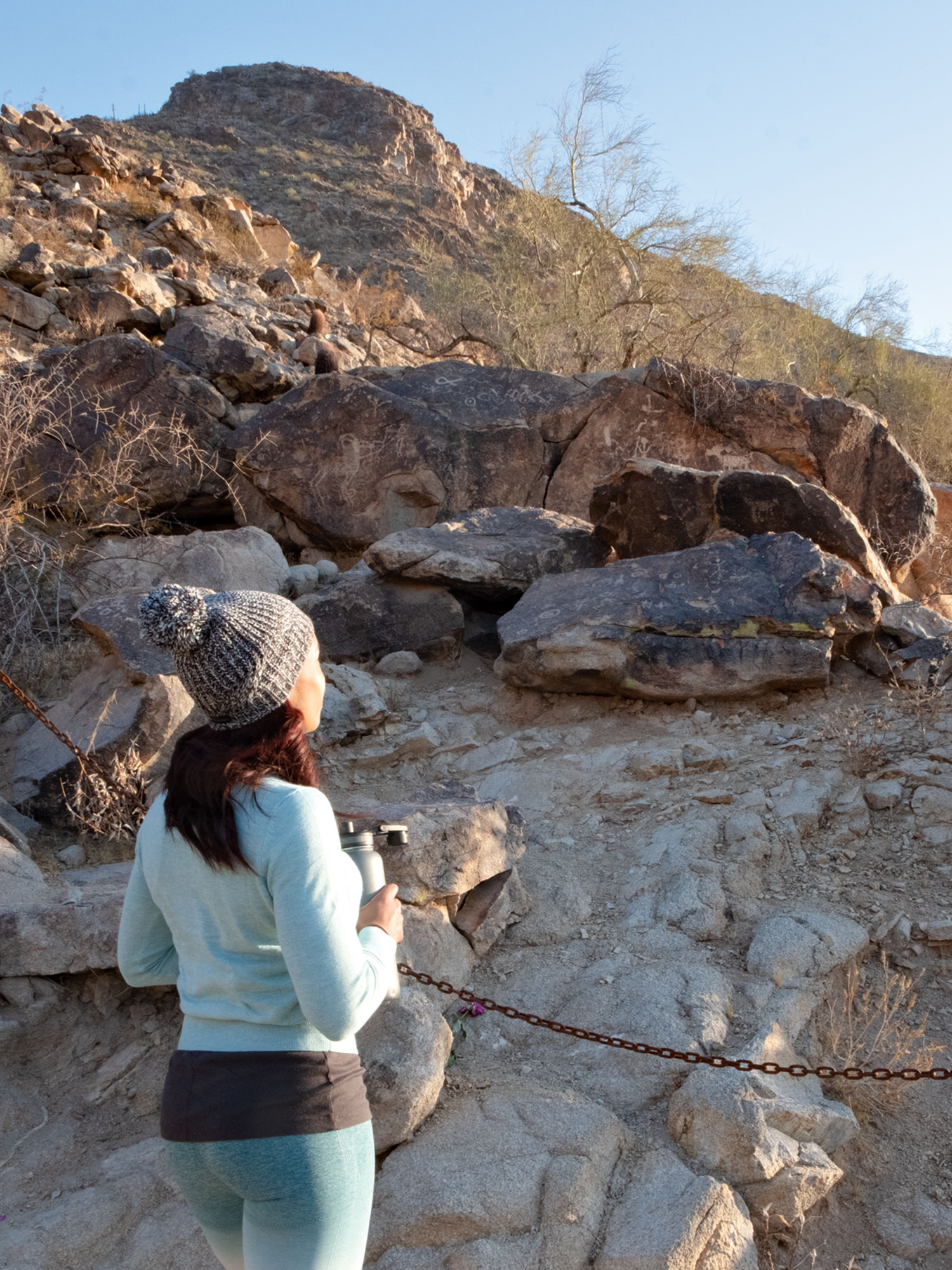 petroglyphs at Telegraph Pass Trail; Photo by Mirelle Inglefield, model: Michelle Alexander