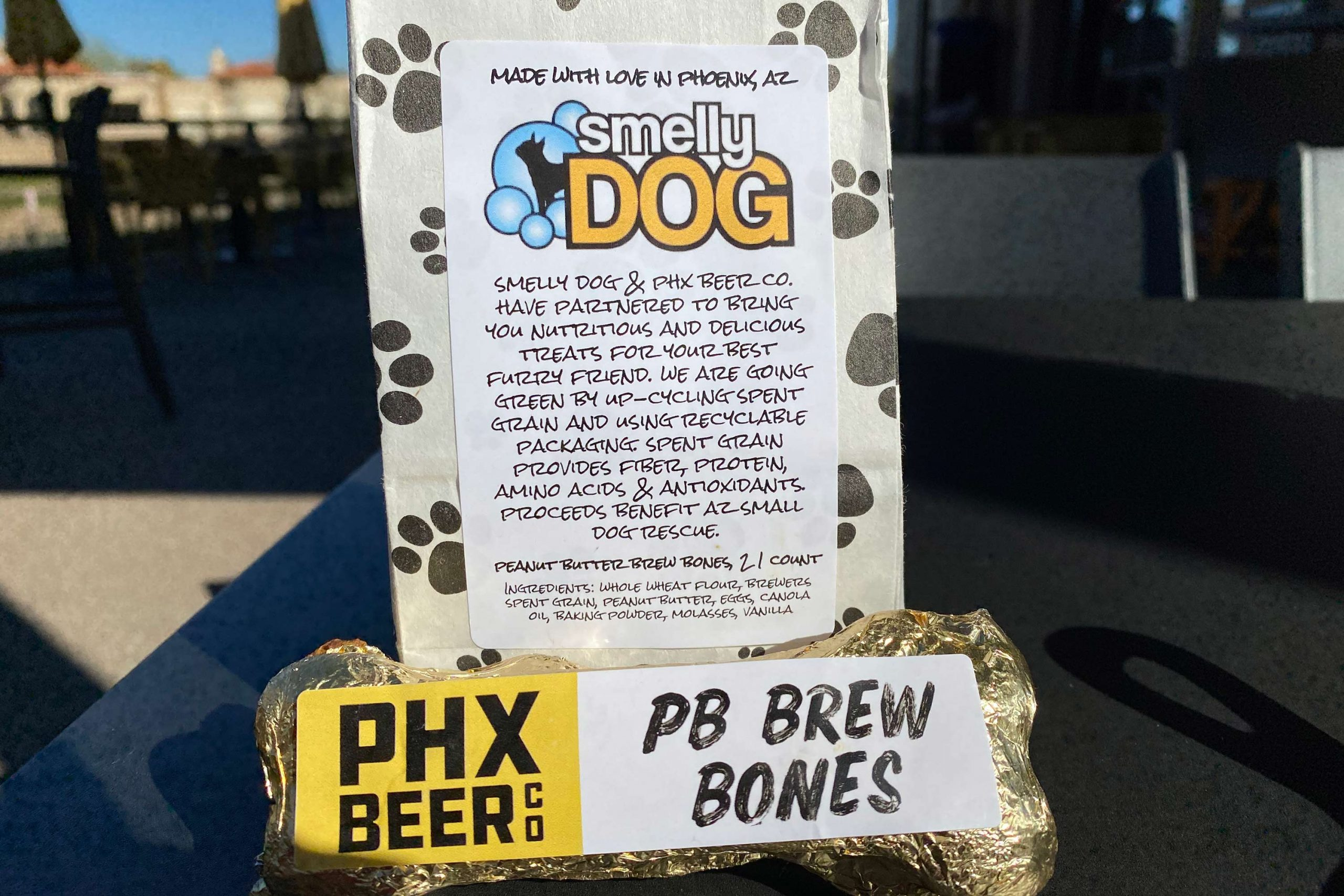 PB Brew Bones are sold as a single 3oz size as well as a pack of 18 bones with a portion of proceeds from the purchase going to Arizona Small Dog Rescue.