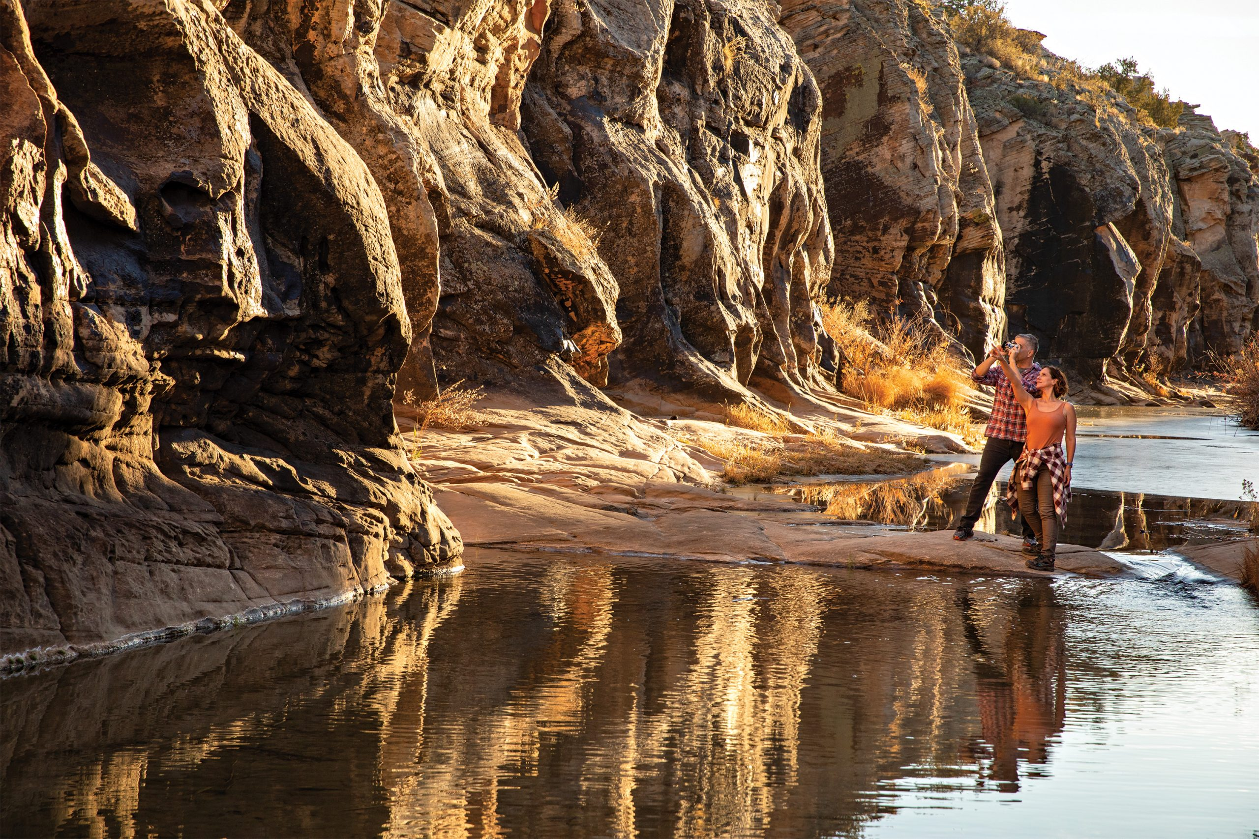 Canyon at Rock Art Ranch.; Photo by Kevin Kaminski; Models: Cat Hartmann & Torin Sixx/Ford Robert Black Agency
