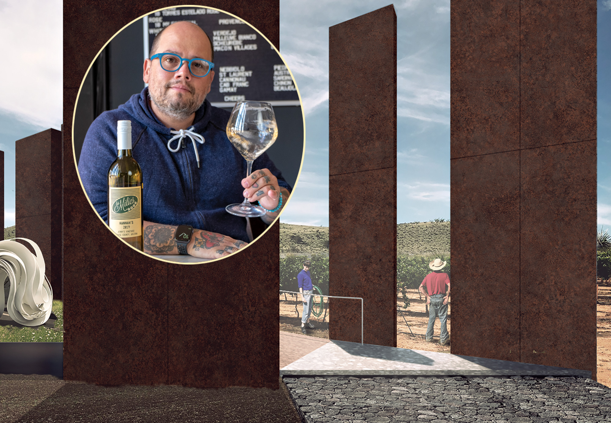 Pavle Milic and rendering of his tasting room at Los Milics Winery; Photo by Mirelle Inglefield; Rendering by Chen + Suchart Studio