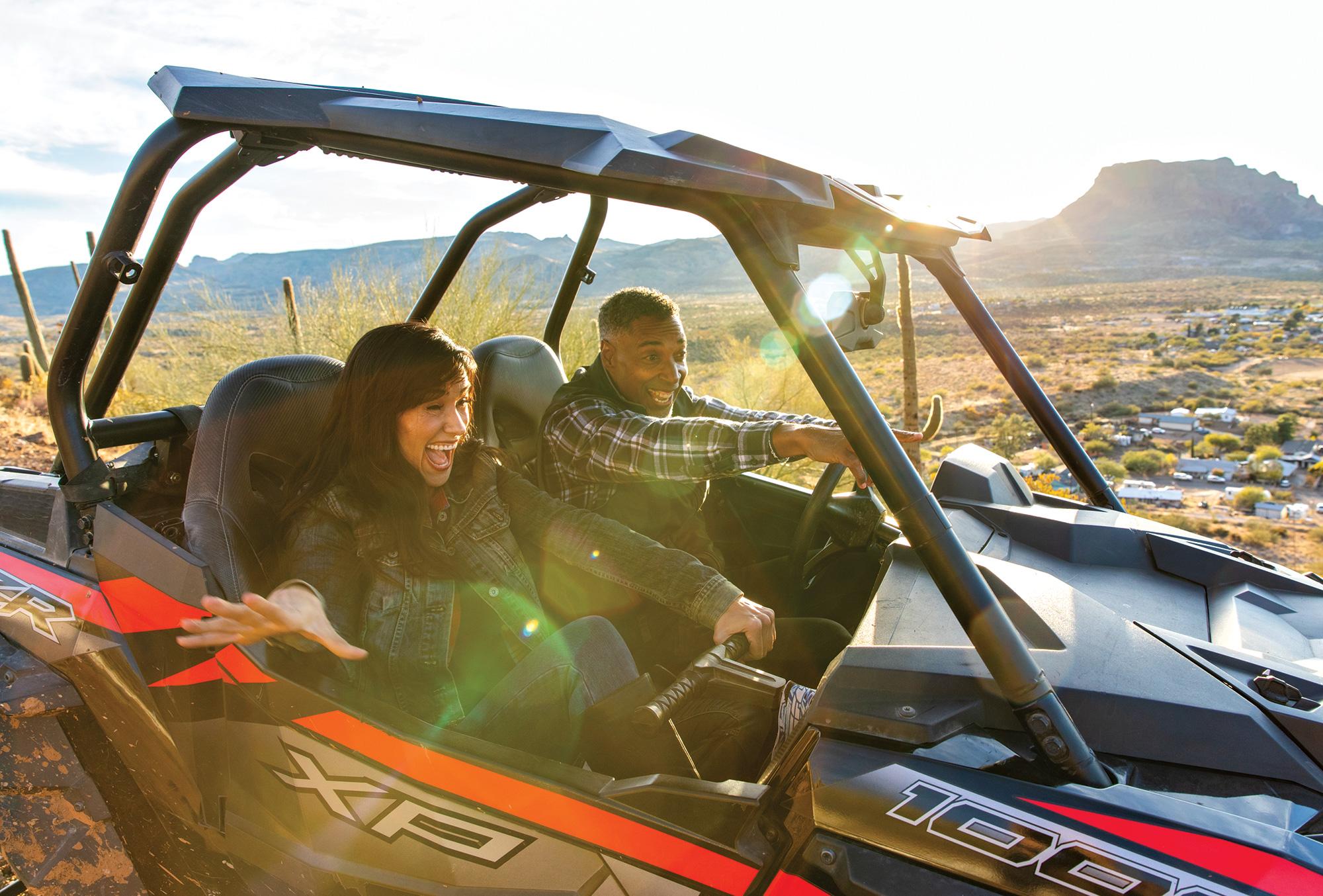 UTV thrills looking over Box 8 Ranch; Photo by Kevin Kaminski; Models: Lauren Alonzo & Russell Scott/Ford Robert Black Agency