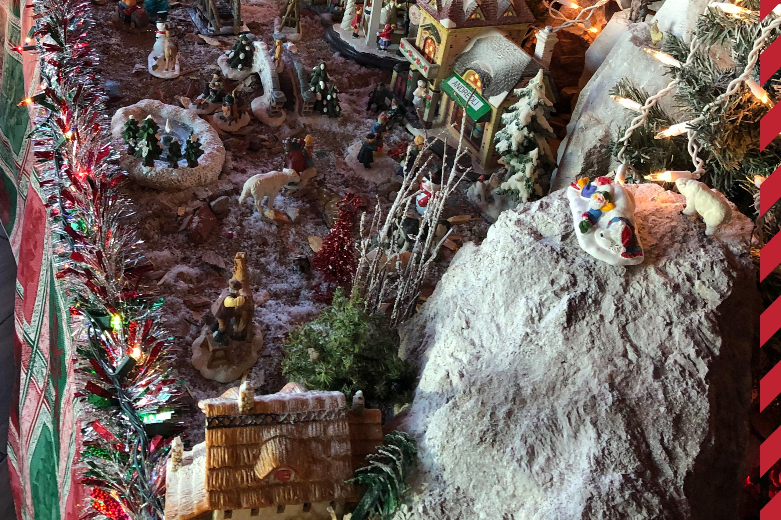 Miniature Snow Village and Nativity Scene at Andreoli Italian Grocer