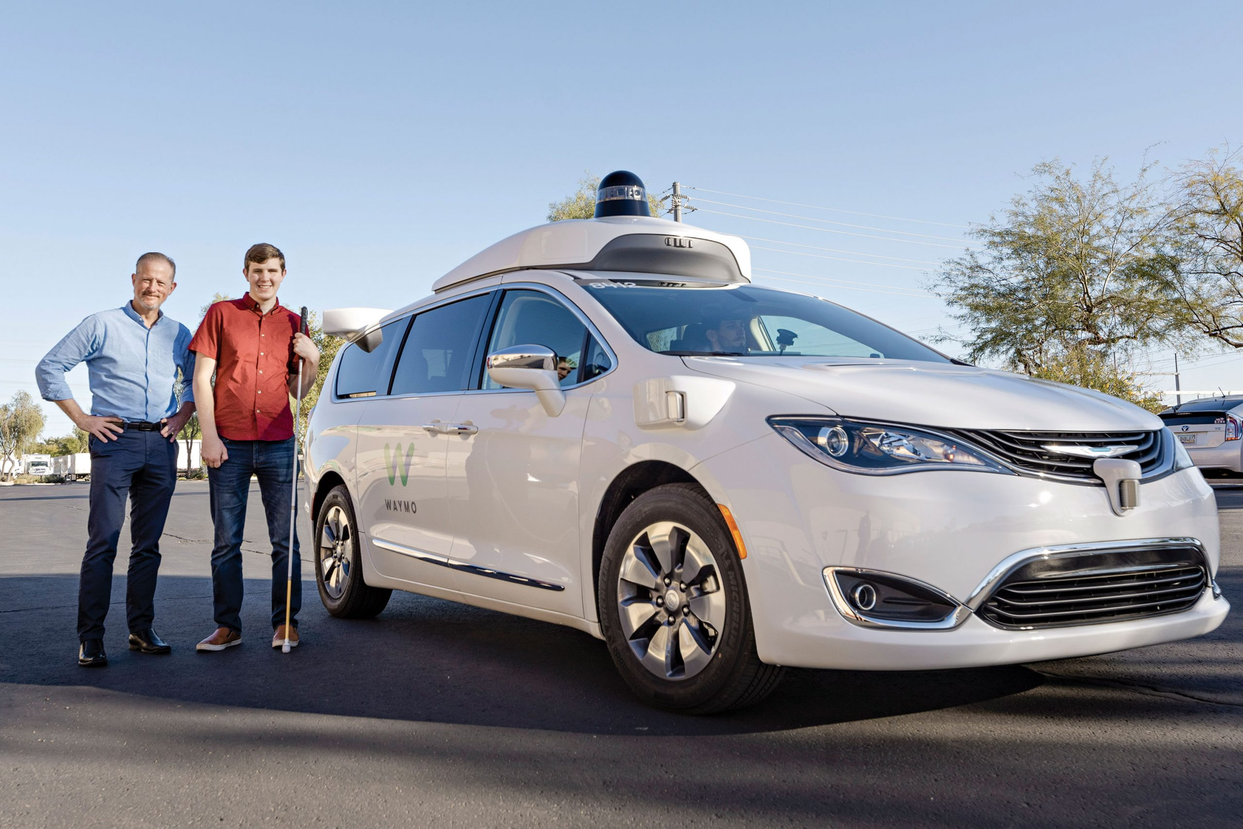 Waymo users Marc and Max Ashton; Photo courtesy Waymo