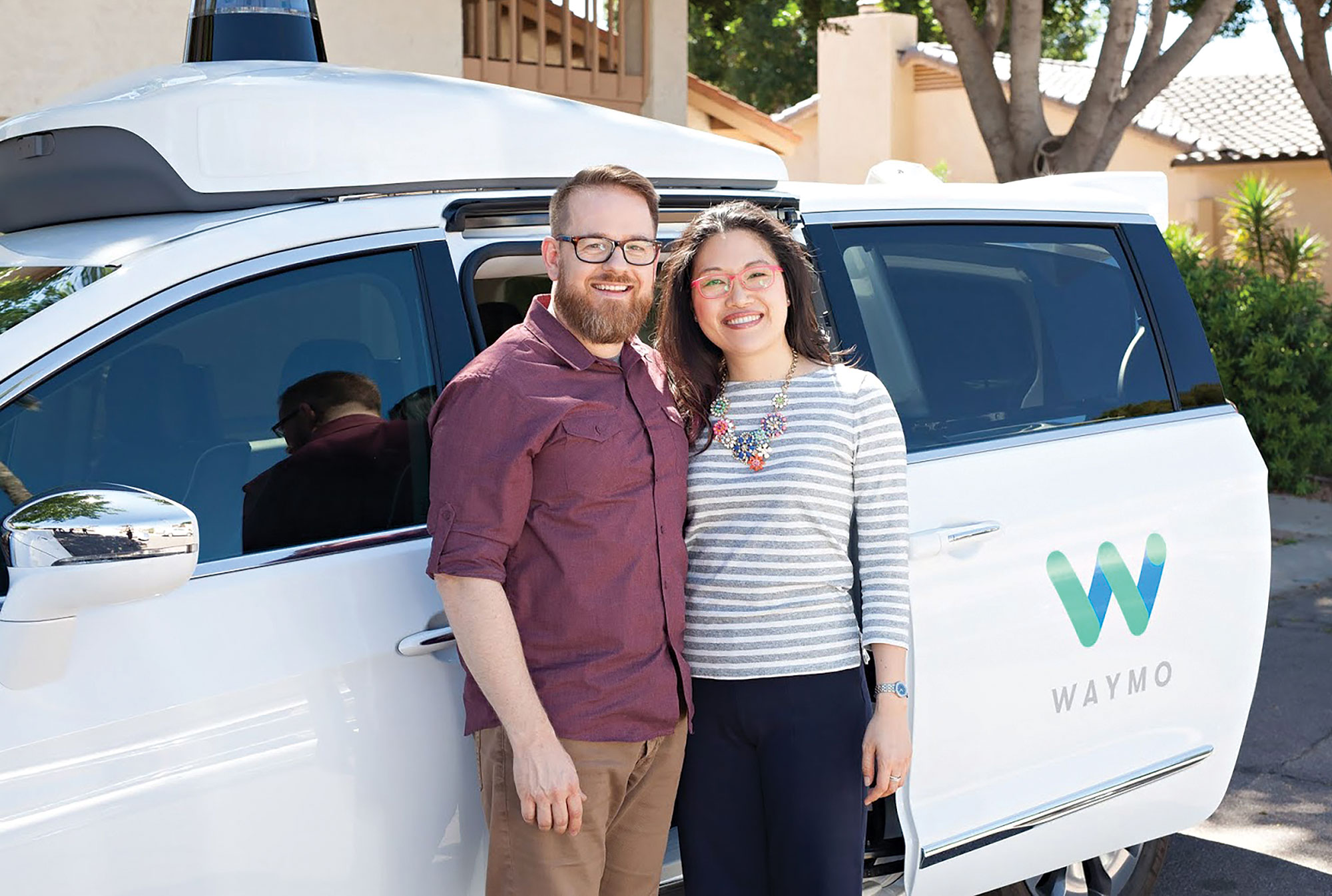 Paul Welden and Amy Chou started utilizing driverless vehicles after each suffered a traumatic car accident.; Photo courtesy Waymo