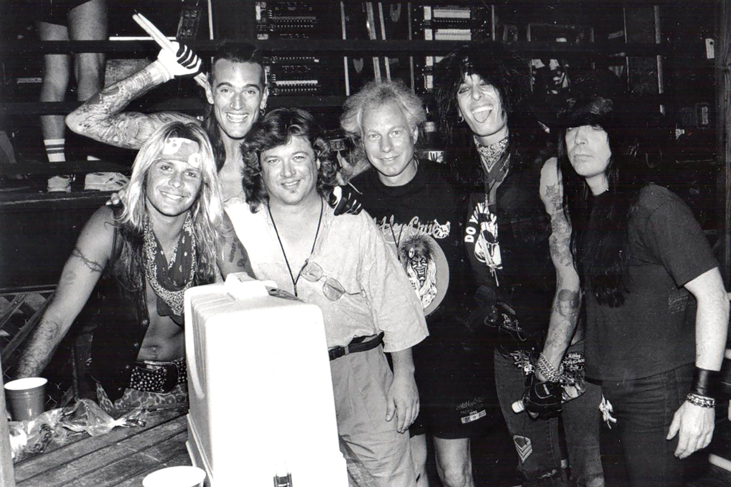 Danny Zelisko (third from left) with Mötley Crüe in the late '80s; Photo courtesy Danny Zelisko