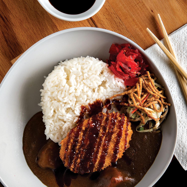 Vegeterian curry with potato croquette at Ramen Kagawa; Photography by Rob Ballard