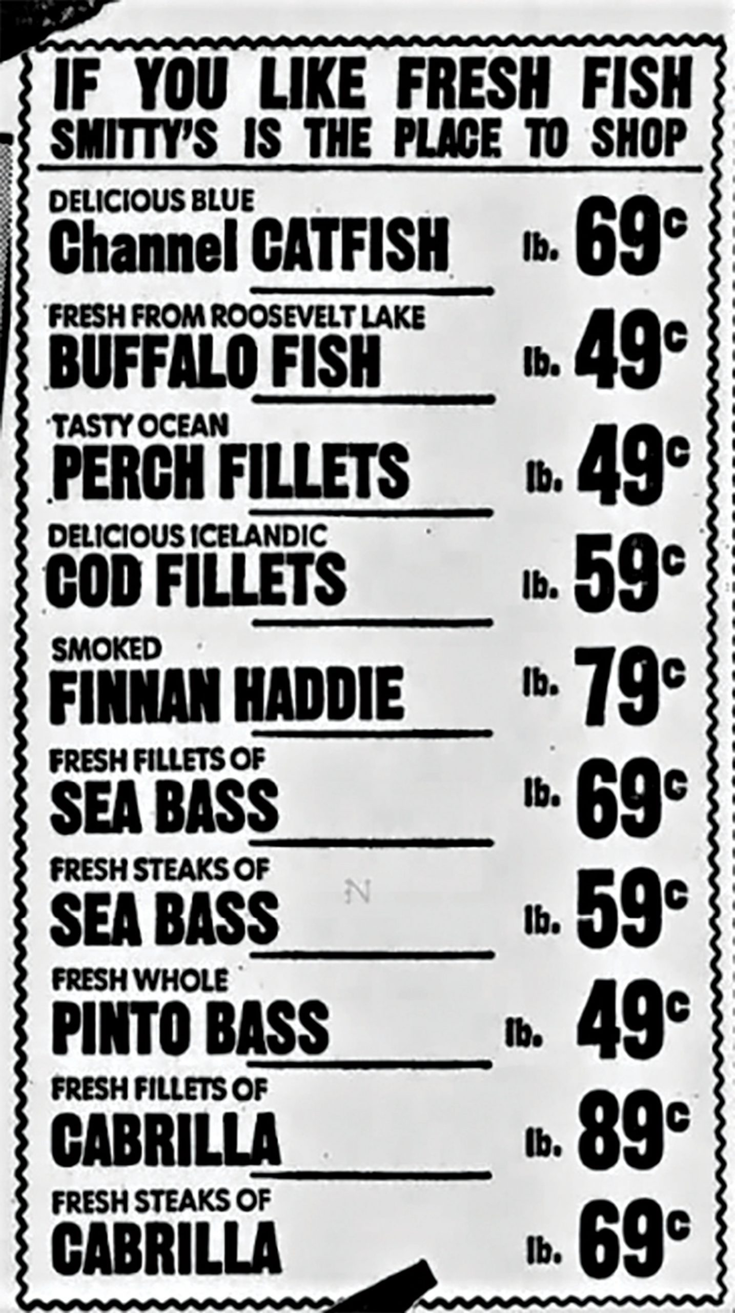 "a Smitty's ad for buffalo fish ""fresh from Roosevelt Lake,"" 1964; Photo courtesy The Arizona Republic archives"
