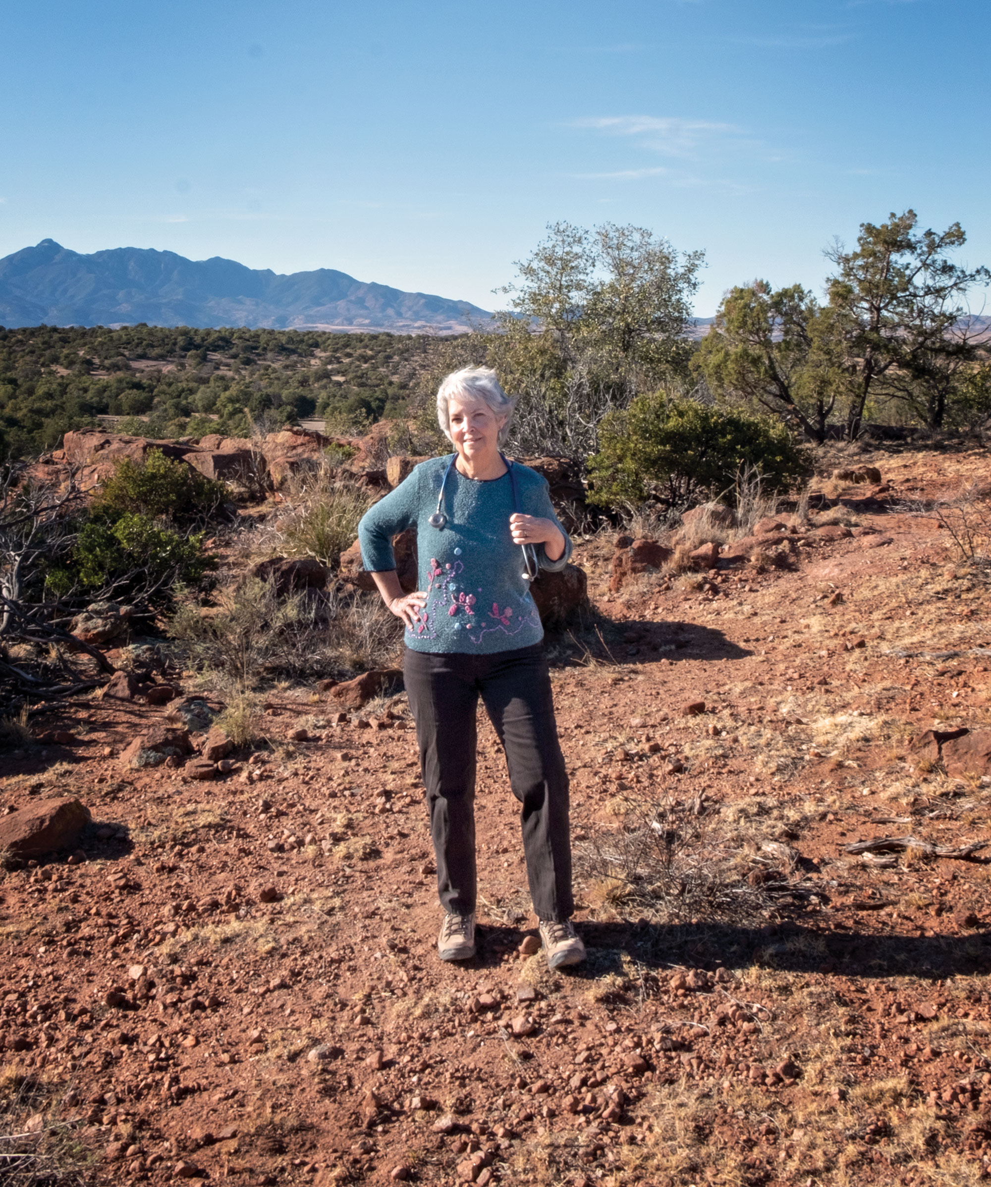 When she isn't treating the town's medical woes, Dr. Molly Anderson leads a hiking club in Patagonia.; Photo by Mirelle Inglefield