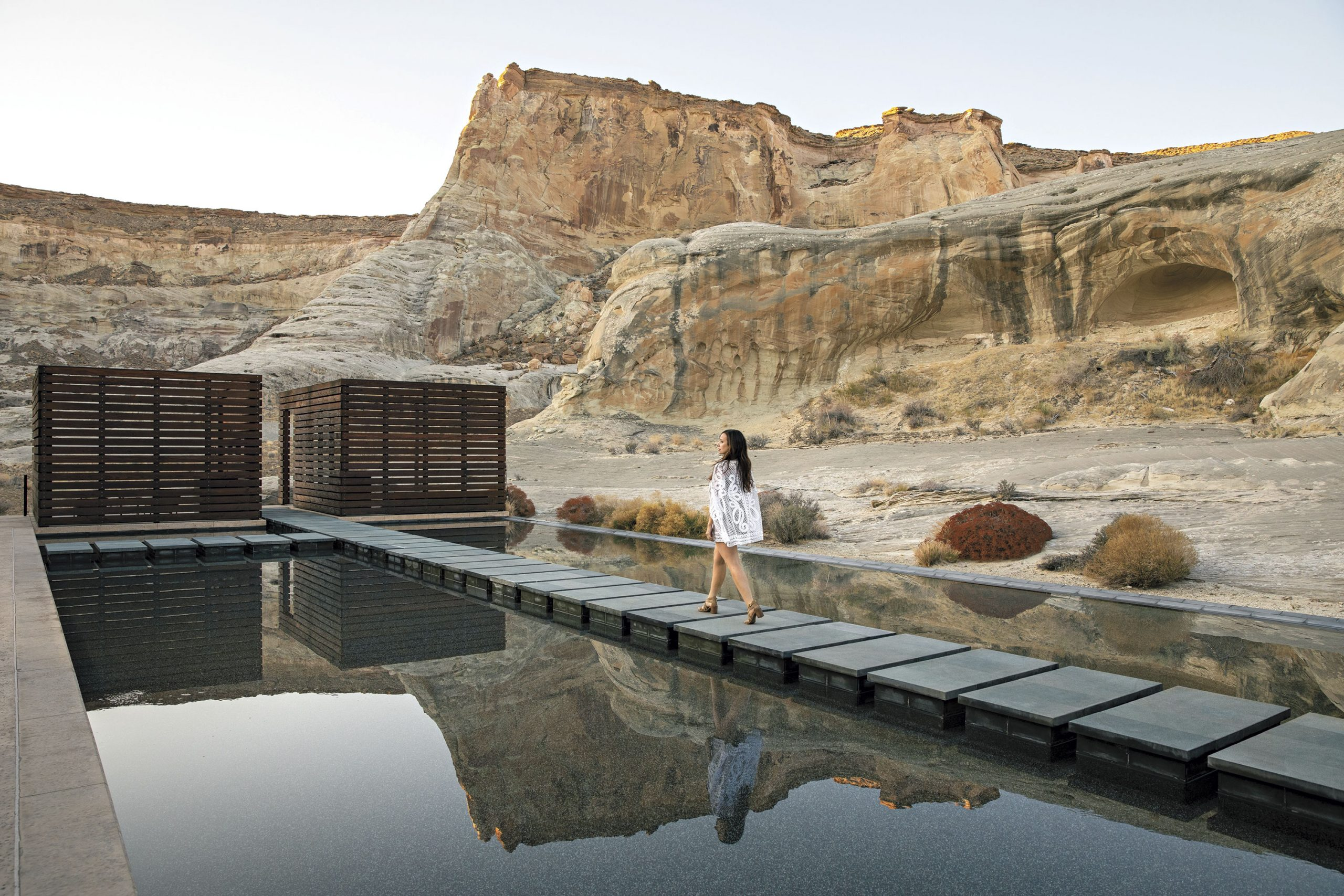 Spa pool at Amangiri; Photo by Kevin Kaminski; Model: Kelly Kaminski: Wardrobe by Rare Scarf Vintage; Photo assistant: Thomas Barnett