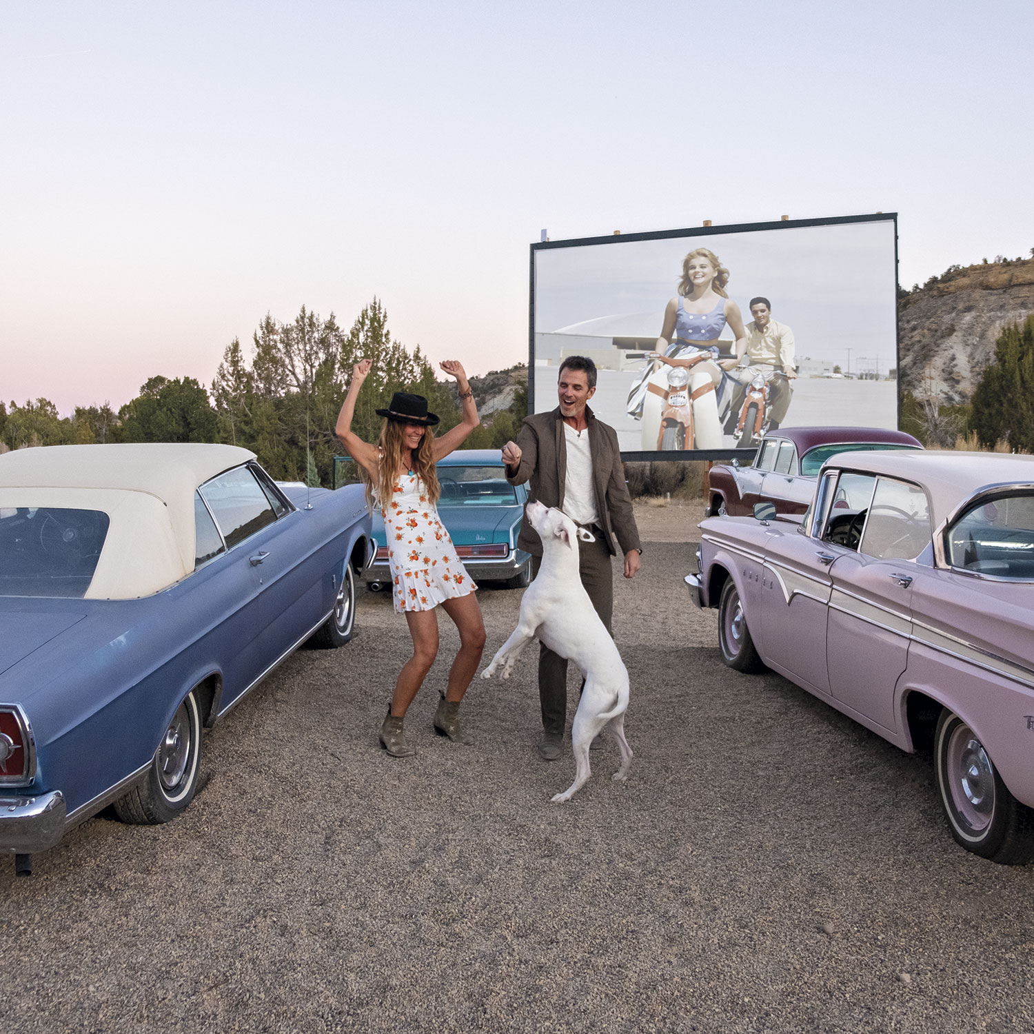 drive-in; Photo by Mirelle Inglefield; photo assistant: Eric Cox; Models: Phyllis Lane and David Dorn/Ford Robert Black Agency; Zema the Dog @zema_Dog