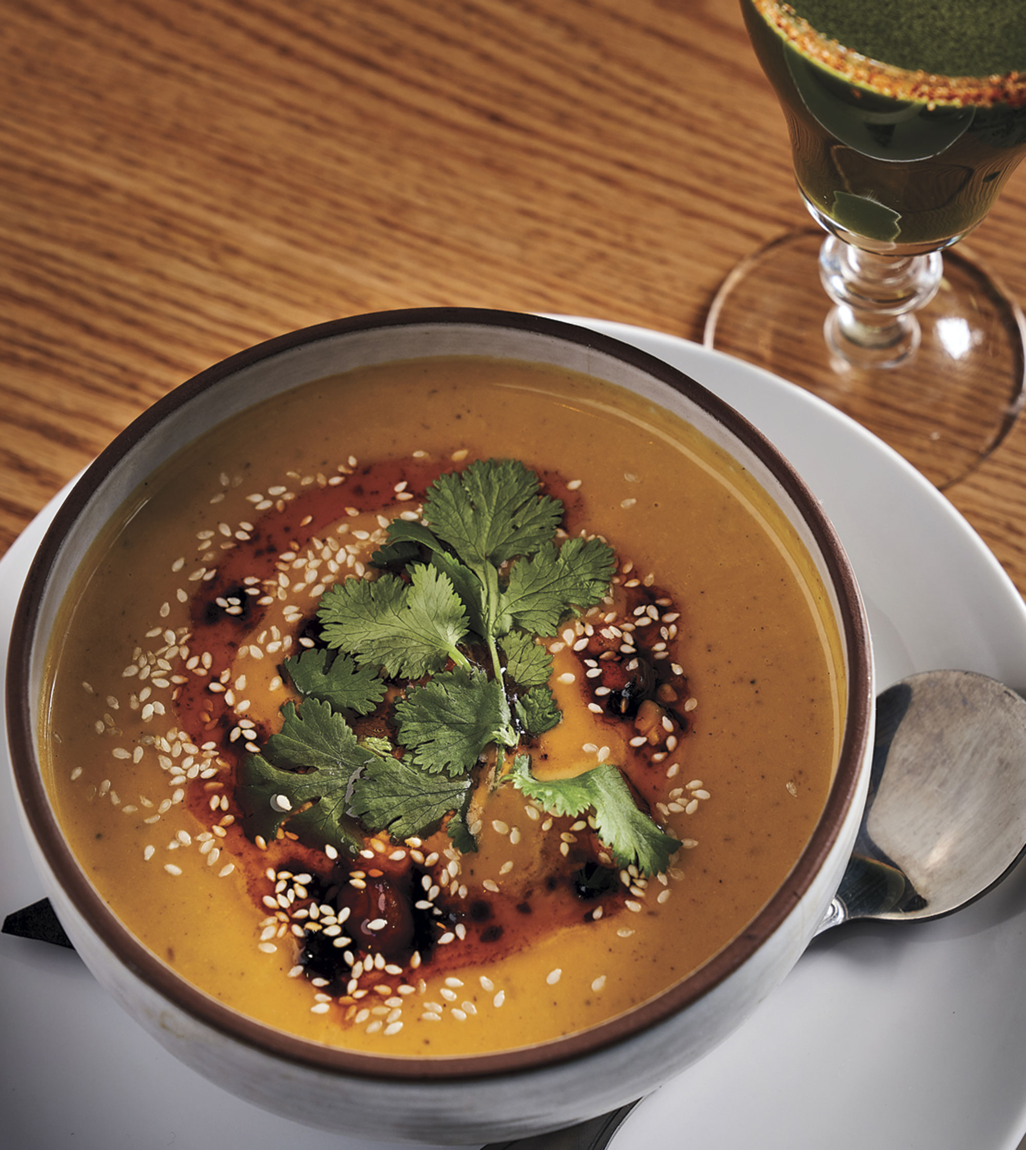 sweet potato coconut soup; Photo by Kyle Ledeboer