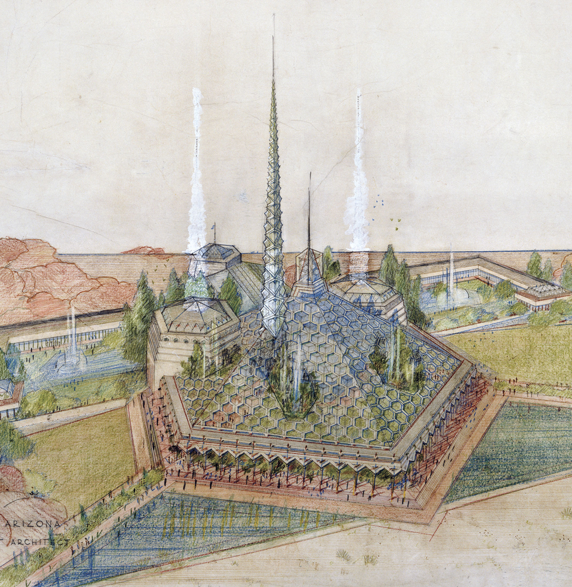 This colorful sketch shows where Wright removed two towers from his original design and added a single taller one. Native flora and fountains burst through openings in the lacy canopy. Hexagonal buildings flanking the central hall hold the House and Senate, while the Supreme Court and governor's offices occupy the rear building. The two long wings hold general offices.; photos courtesy The Frank Lloyd Wright Foundation Archives (The Museum of Modern Art | Avery Architectural & Fine Arts Library, Columbia University, New York). All rights reserved; Wikimedia Commons