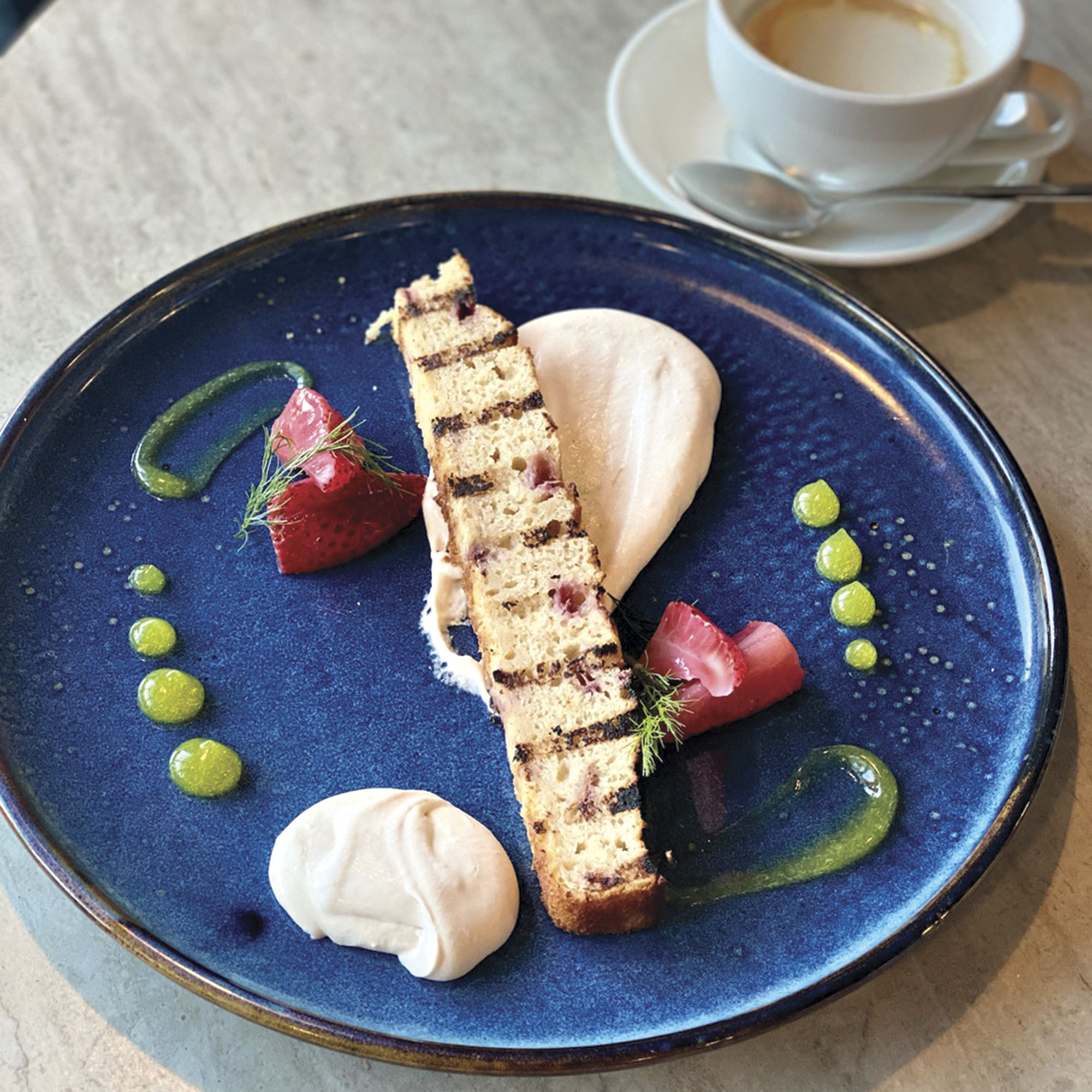 grilled strawberry cake at Waterleaf Restaurant & Bar; Photo by Madison Rutherford