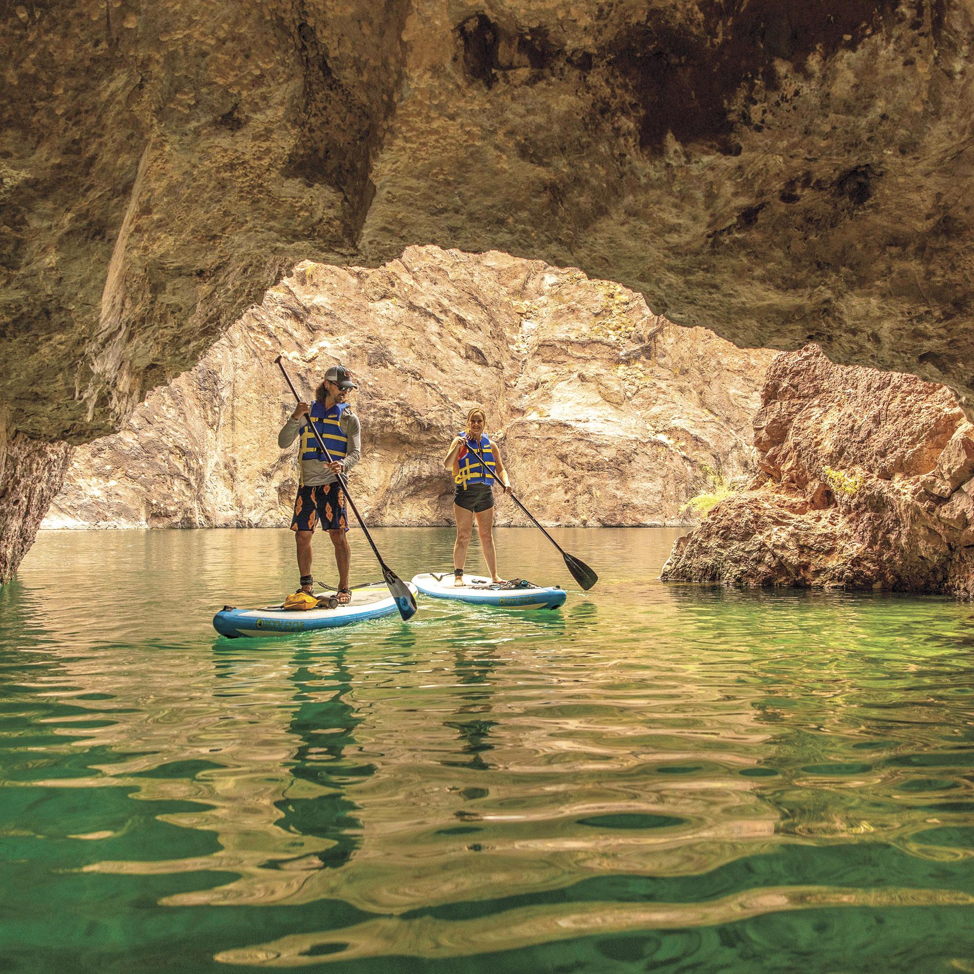 paddleboarding inside and around Emerald Cove; Photo by Kevin Kaminski; Models: Kelly Kaminski & Nick Tortajada