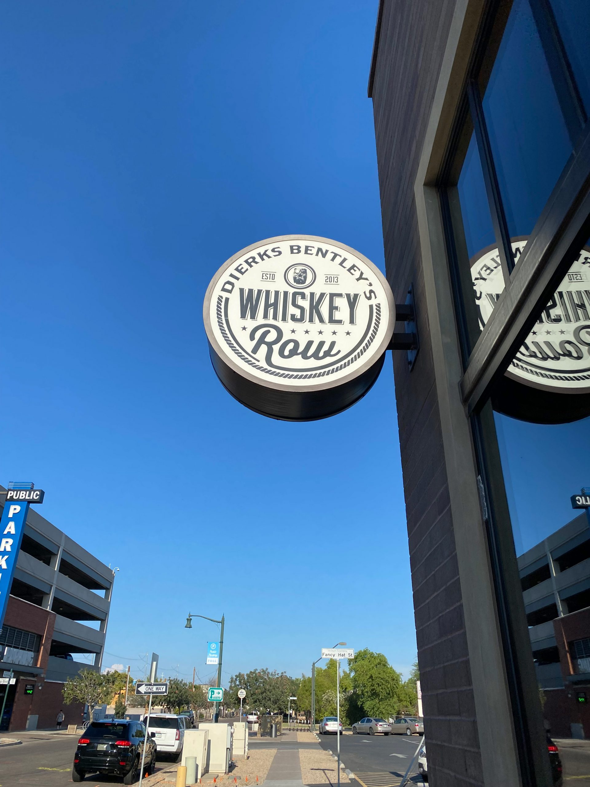 Sign outside building at Dierks Bentley's Whiskey Row Gilbert. Photo by Matthew Johnson, PHOENIX