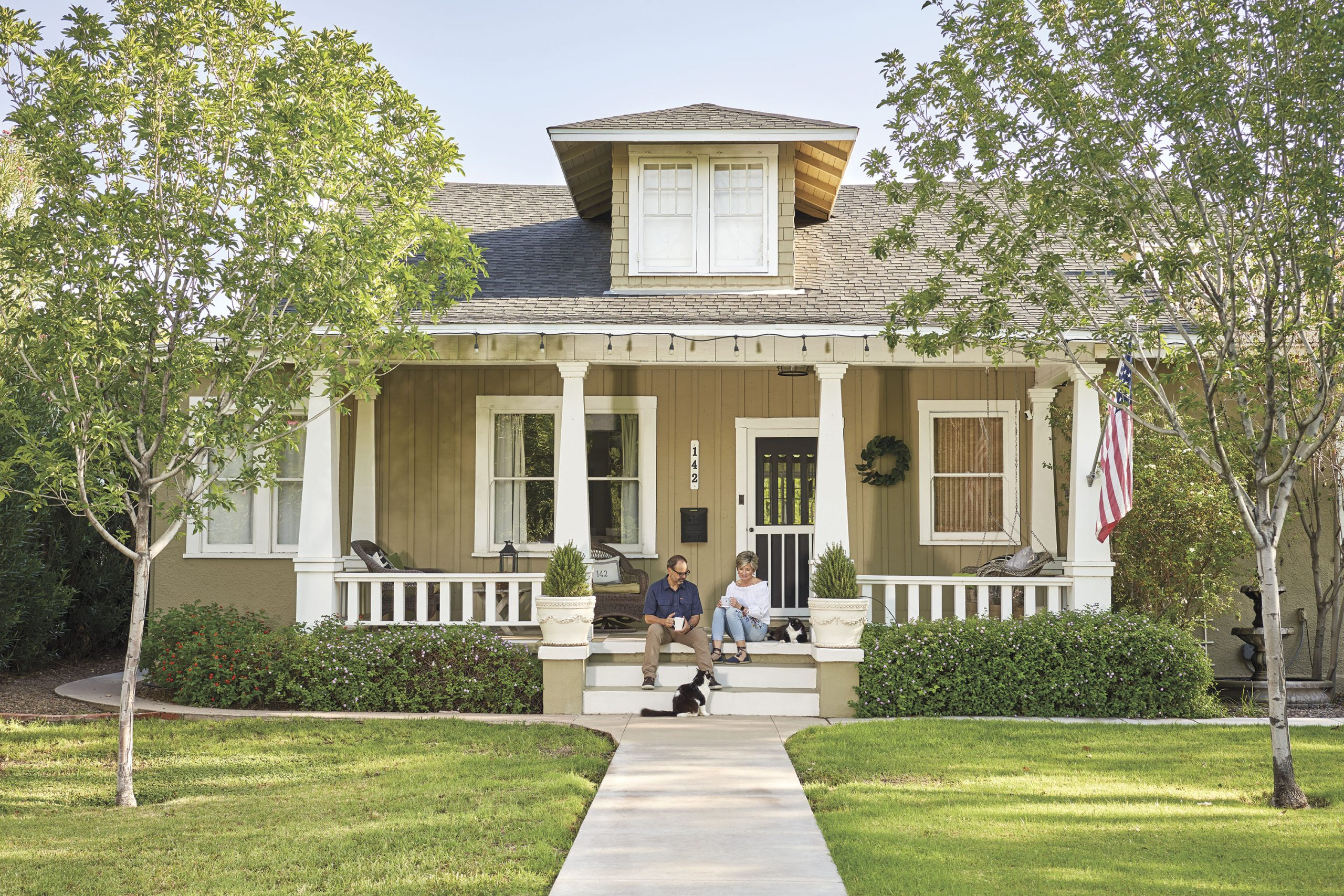 Jennifer Duff and and fiancé Ivan Martinez at their historical Mesa home; Photo by Camerawerks