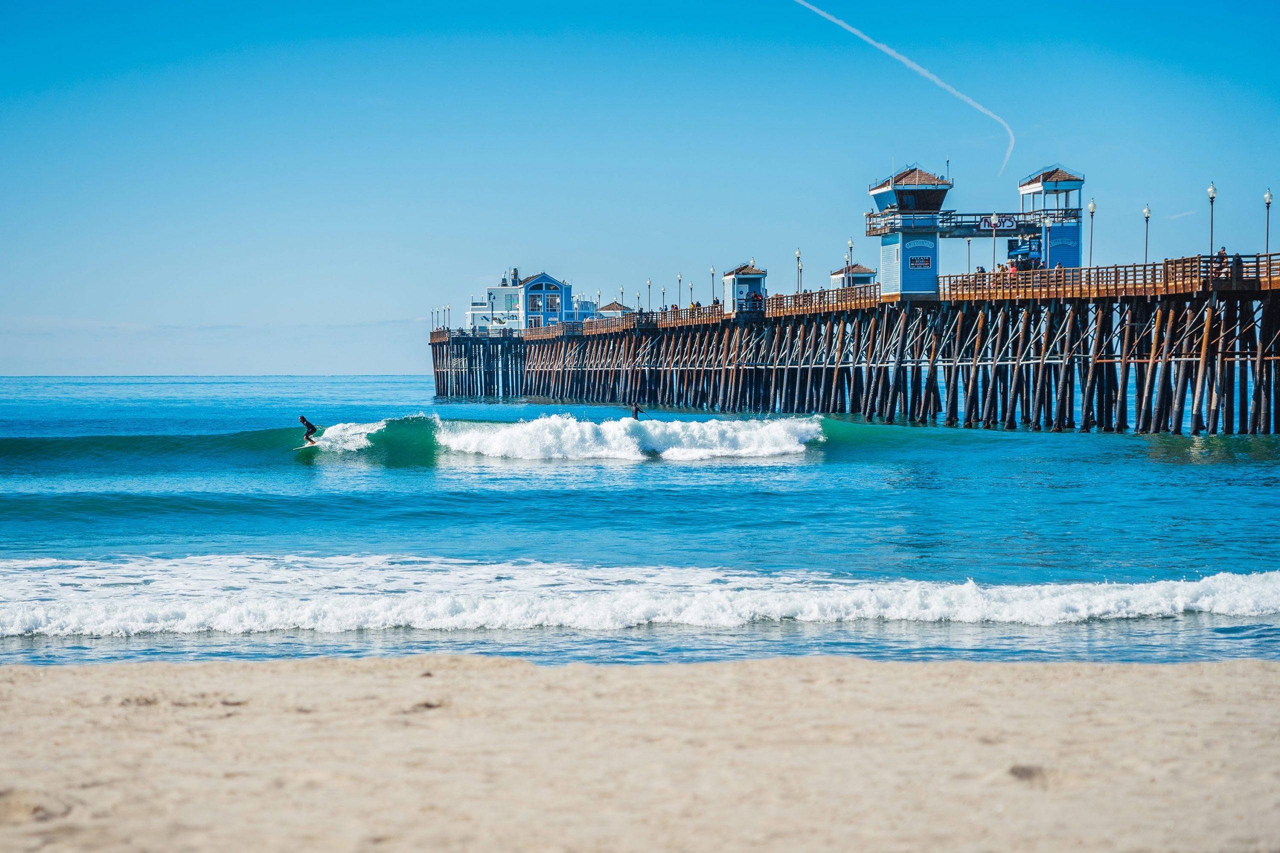 Surfing near Oceanside Pier